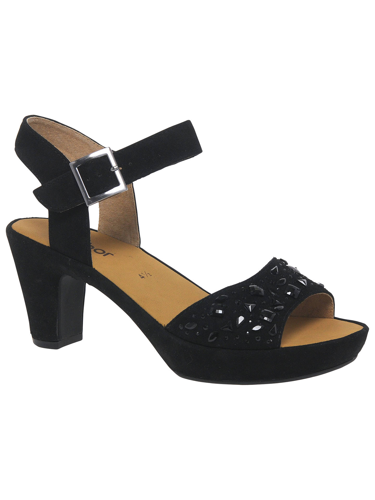 9d2b39bc9319e Buy Gabor Abe Embellished Block Heeled Sandals, Black Suede, 3 Online at  johnlewis.