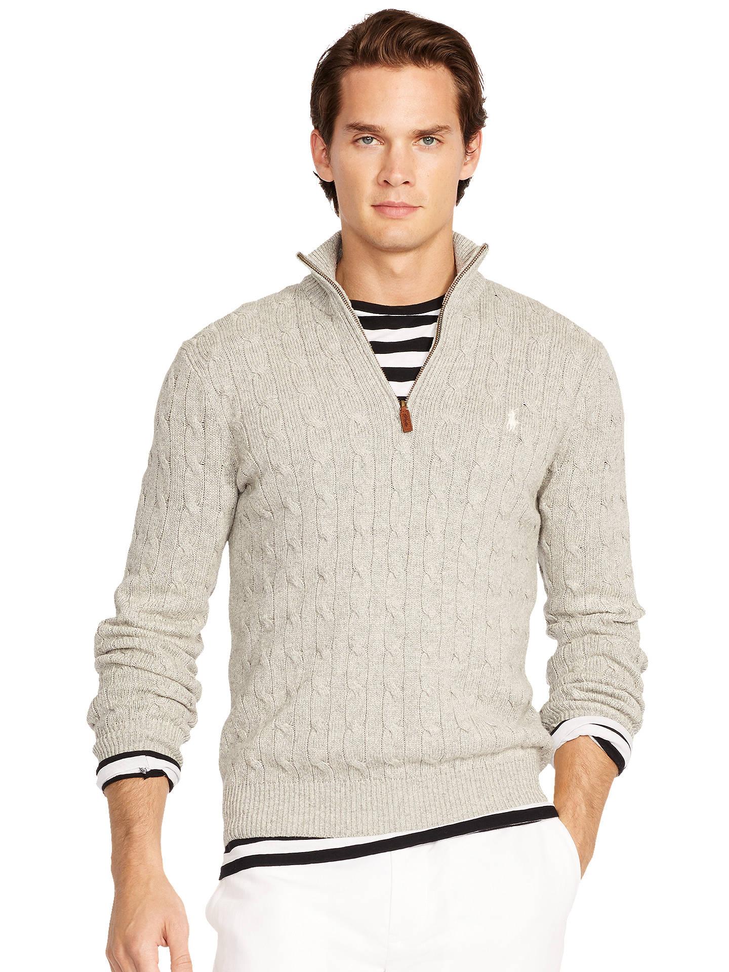 dd6fc900678369 Buy Polo Ralph Lauren Cable Knit Silk Half Zip Jumper, Ruby Grey Heather, S  ...