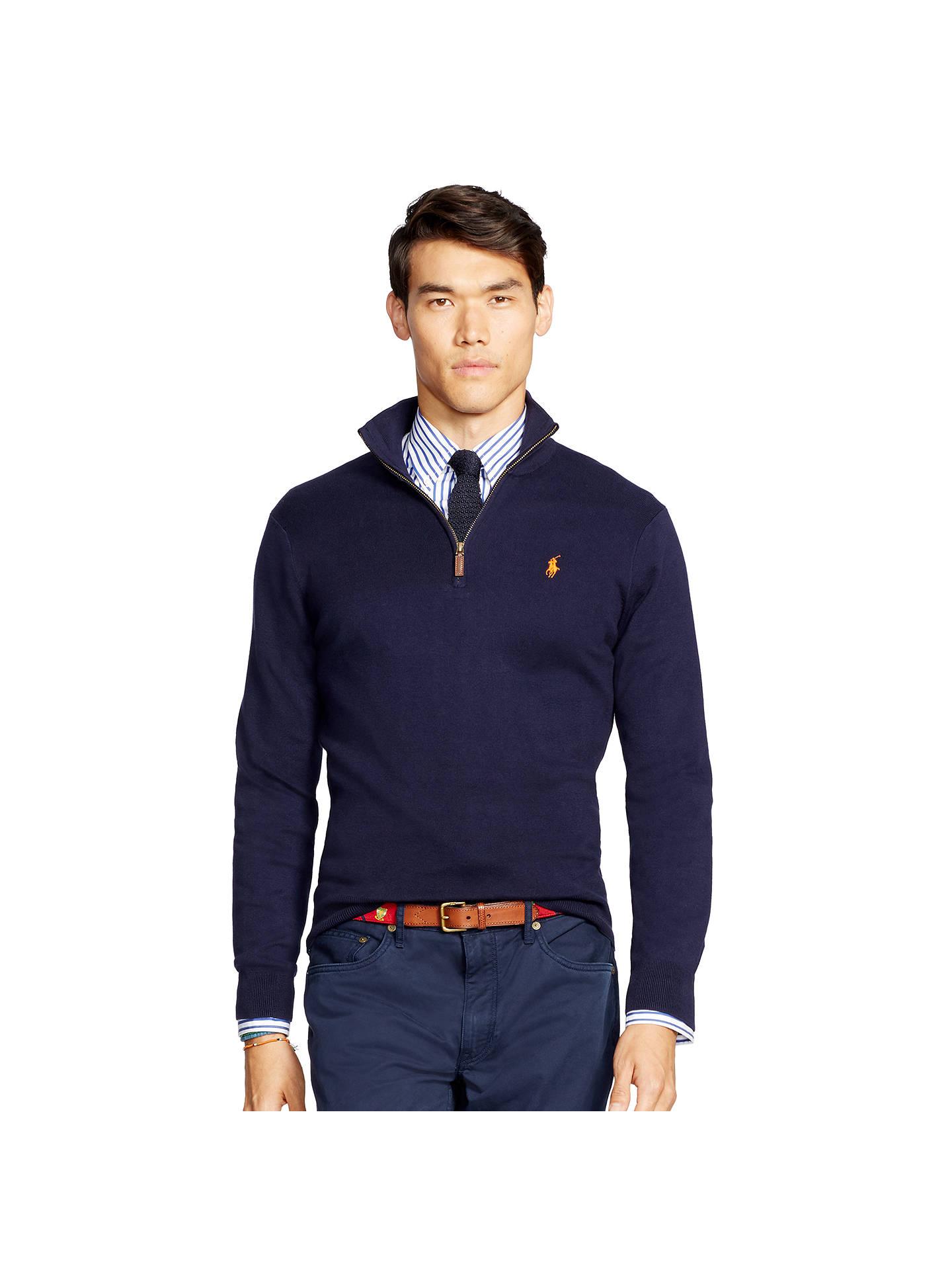36014de02 Polo Ralph Lauren Mens Half Zip Mock Neck Cotton Sweater
