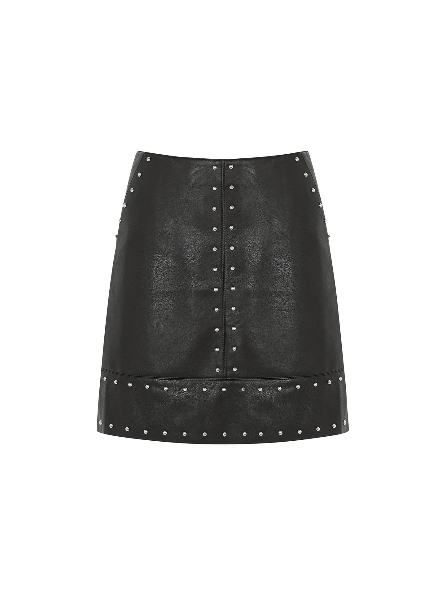 cb7a20665 Buy Warehouse Faux Leather Studded Skirt, Black, 6 Online at johnlewis.com  ...