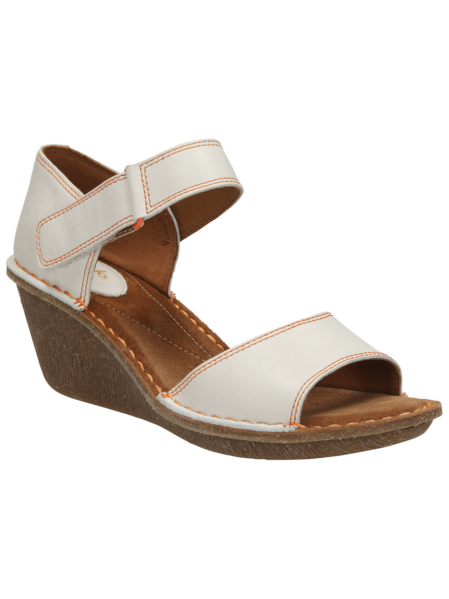 Clarks Orient Sea Leather Sandals, White at John Lewis
