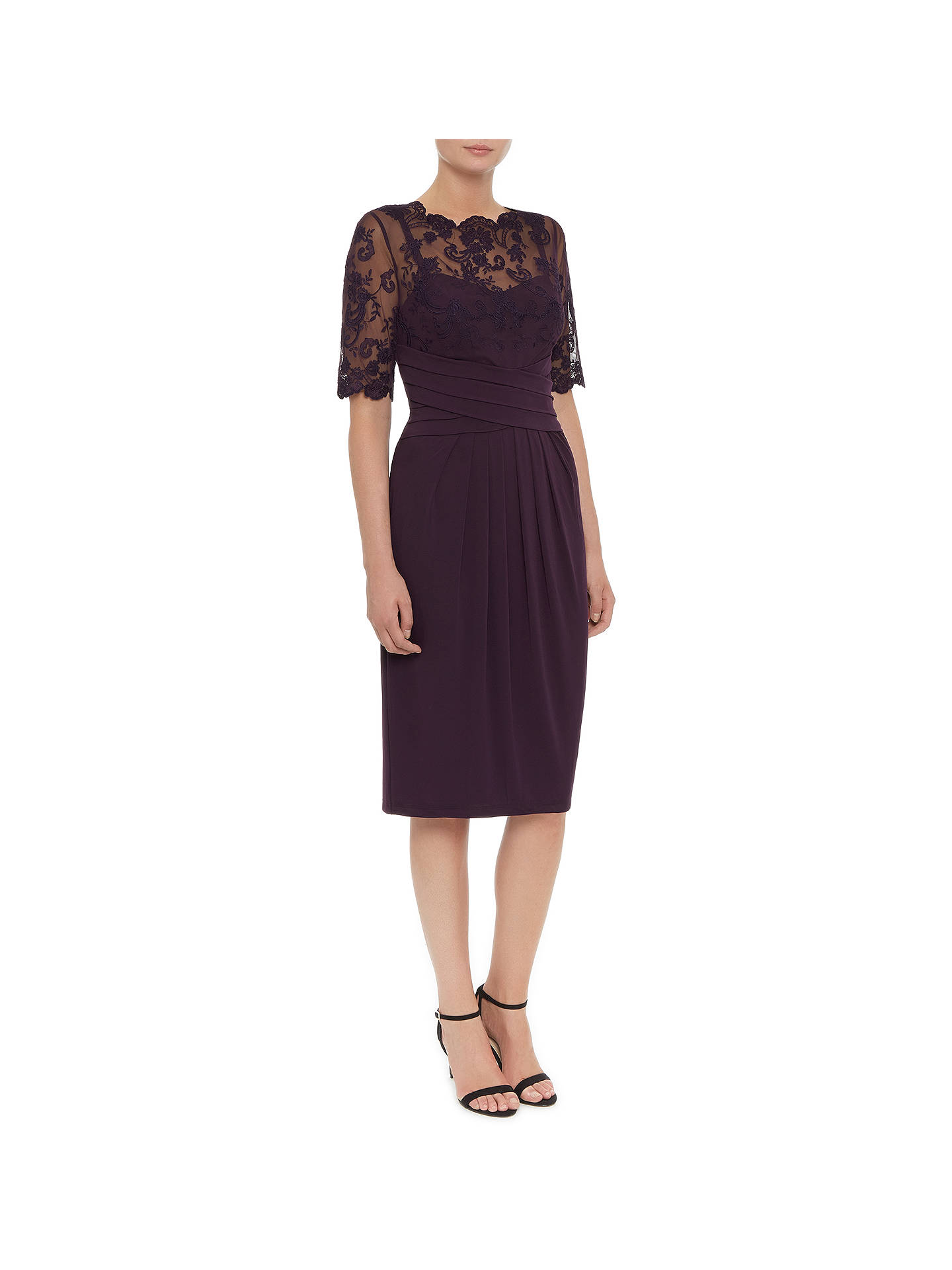3024f4d48a9 ... Buy Kaliko Lace and Jersey Dress, Dark Purple, 8 Online at  johnlewis.com ...