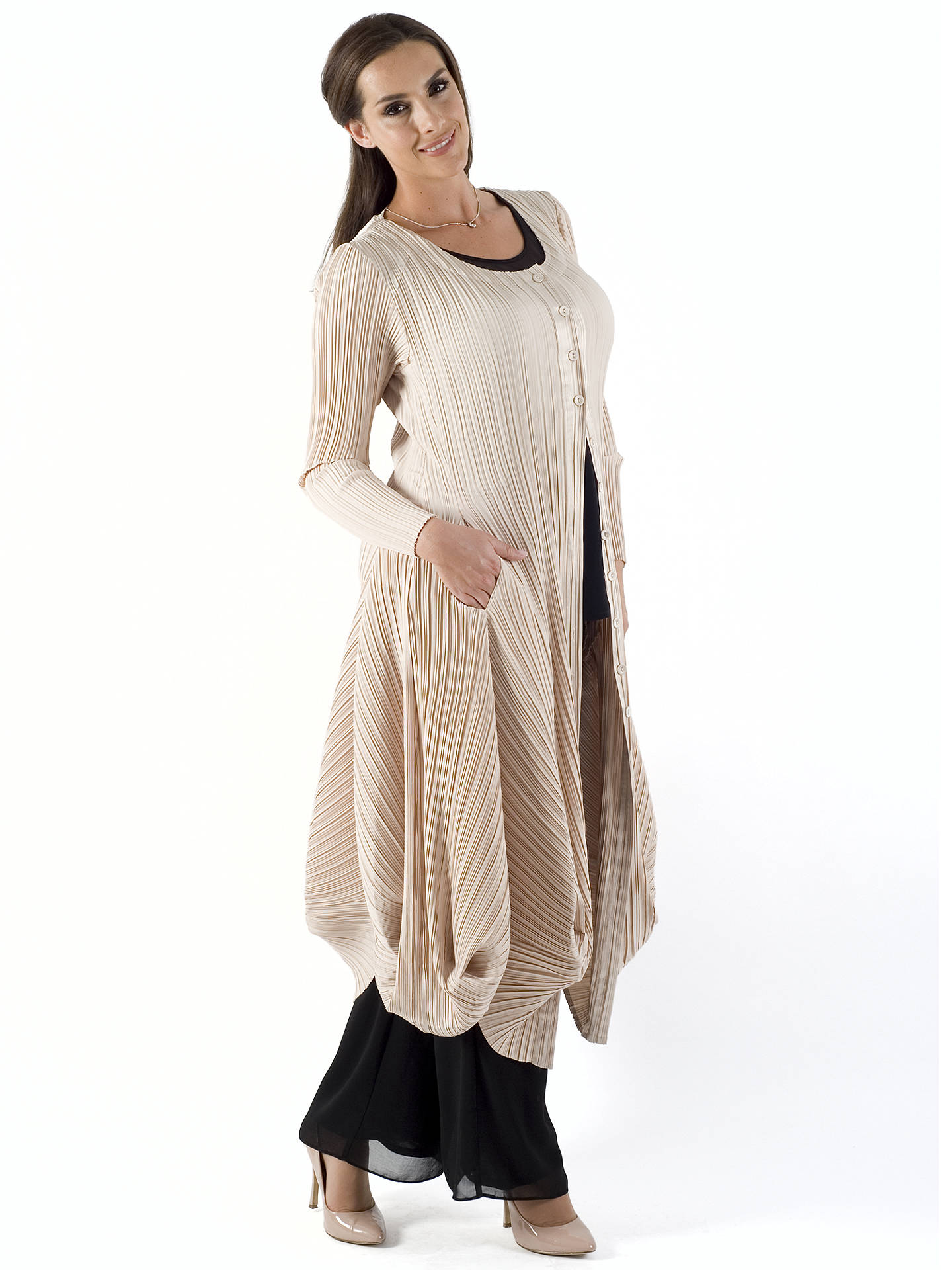 BuyChesca Crush Pleat Drape Coat, Champagne, 12-14 Online at johnlewis.com