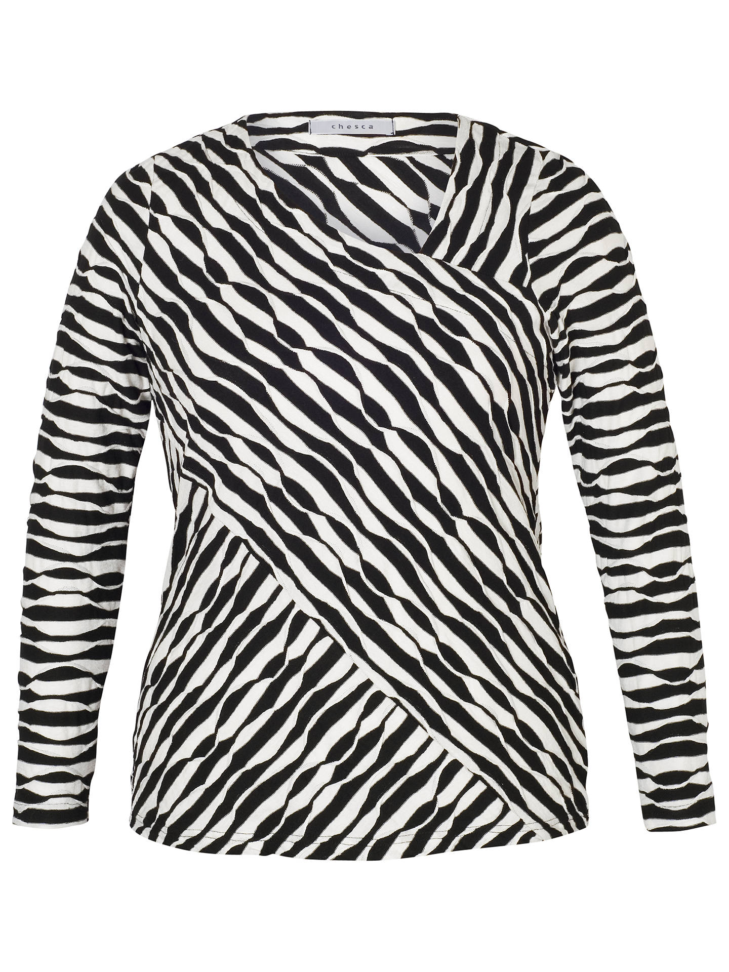 BuyChesca Wavy Asymmetric Top, Black/Cream, 12-14 Online at johnlewis.com