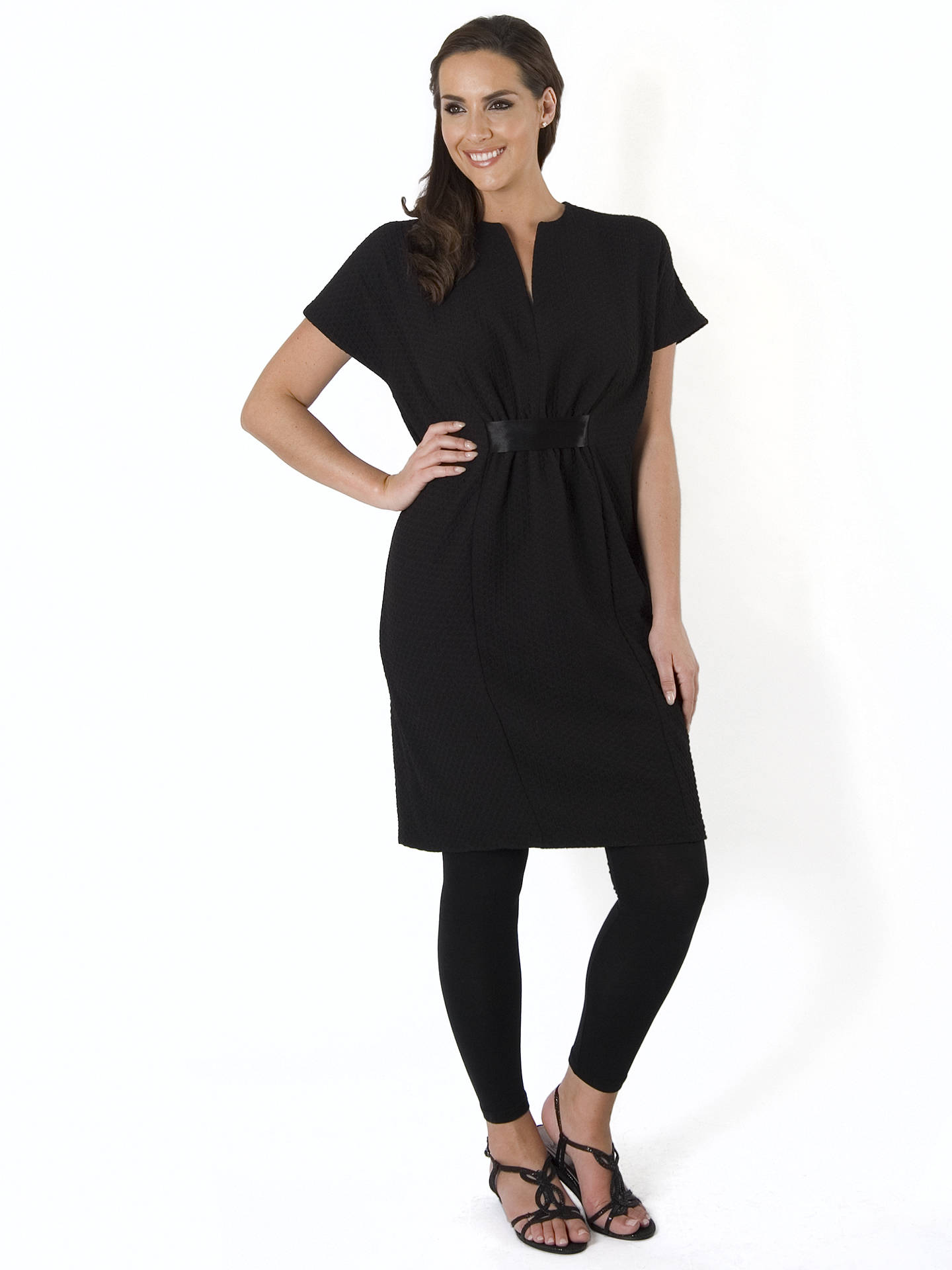 BuyChesca Pique Jersey Belted Dress, Black, 12-14 Online at johnlewis.com