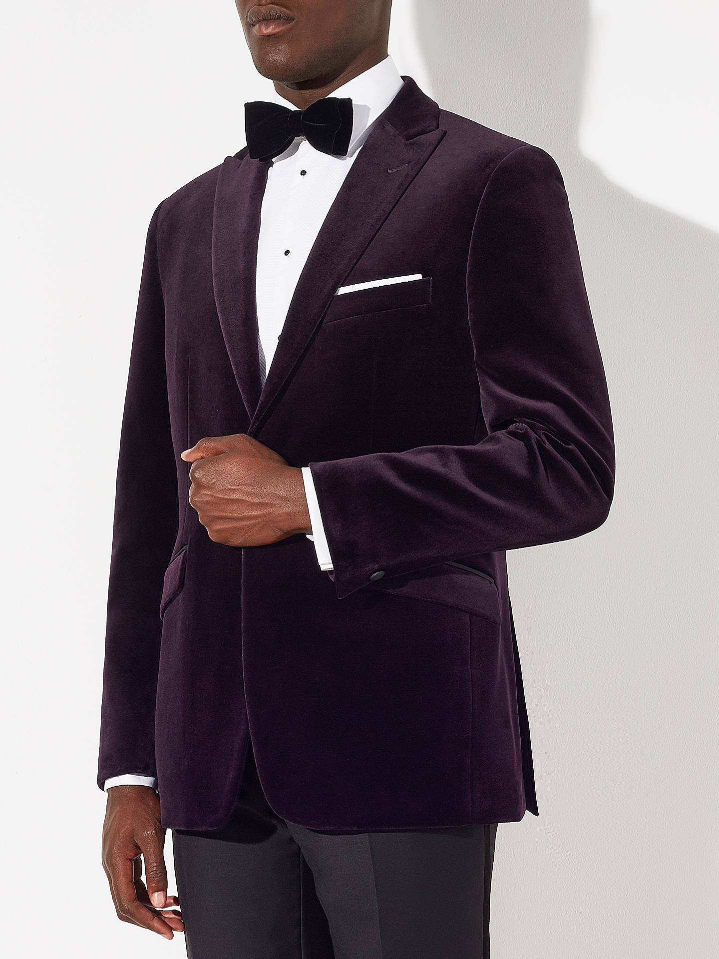 BuyJohn Lewis Velvet Peak Lapel Tailored Blazer, Aubergine, 38R Online at johnlewis.com