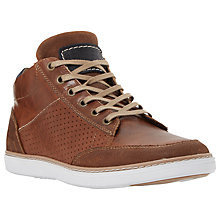 Buy Dune Squizz Leather Perforated Side Hi Top Trainers, Tan Online at johnlewis.com