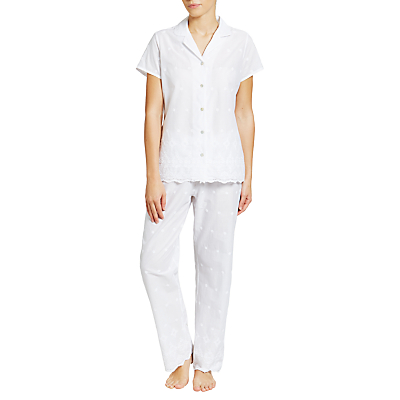John Lewis Broderie Anglaise Pyjama Set, White