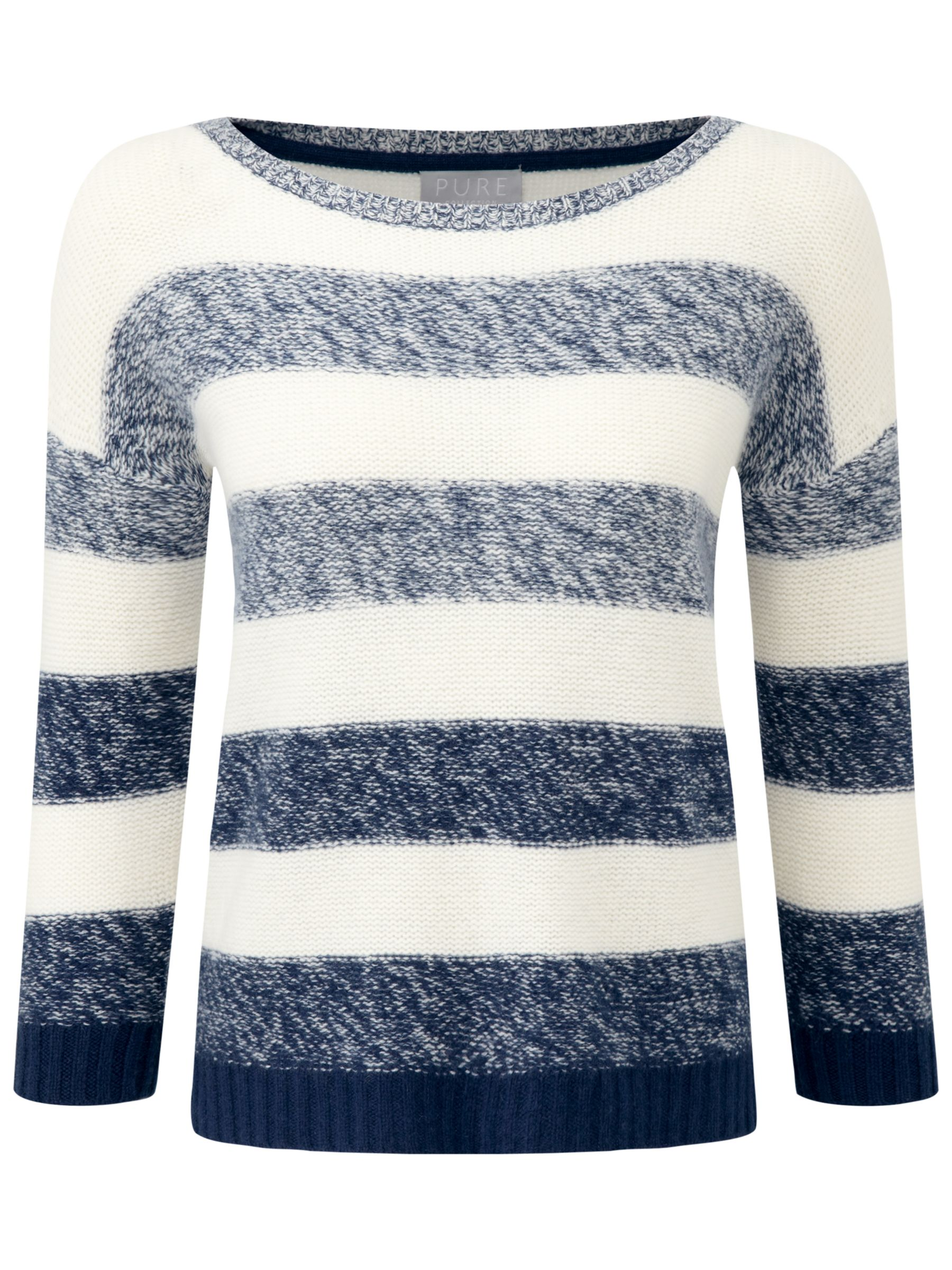 Pure Collection Striped Cashmere Sweater, French NavySoft