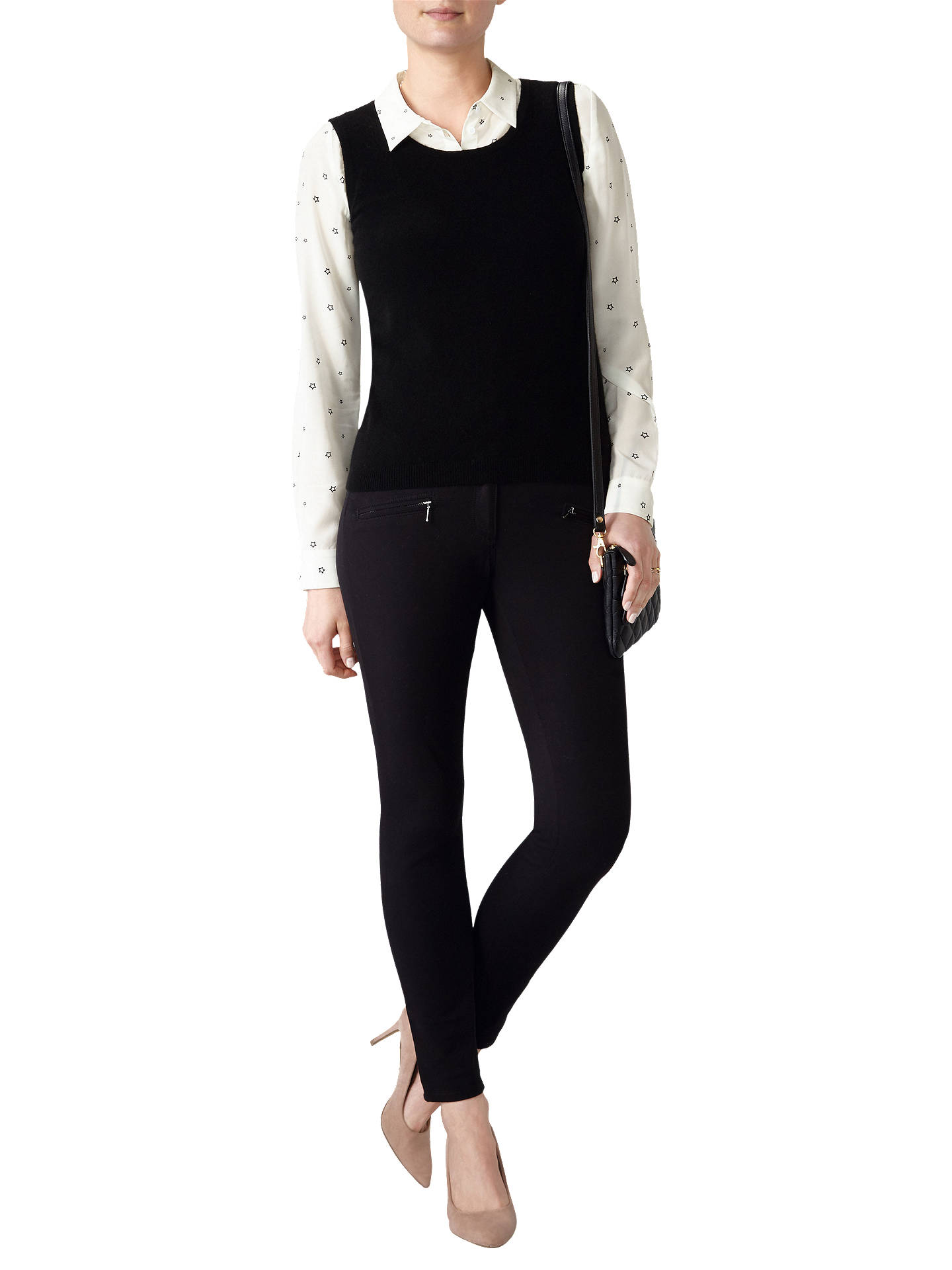 Buy Pure Collection Radbourne Cashmere Tank Jumper, Black, 8 Online at johnlewis.com