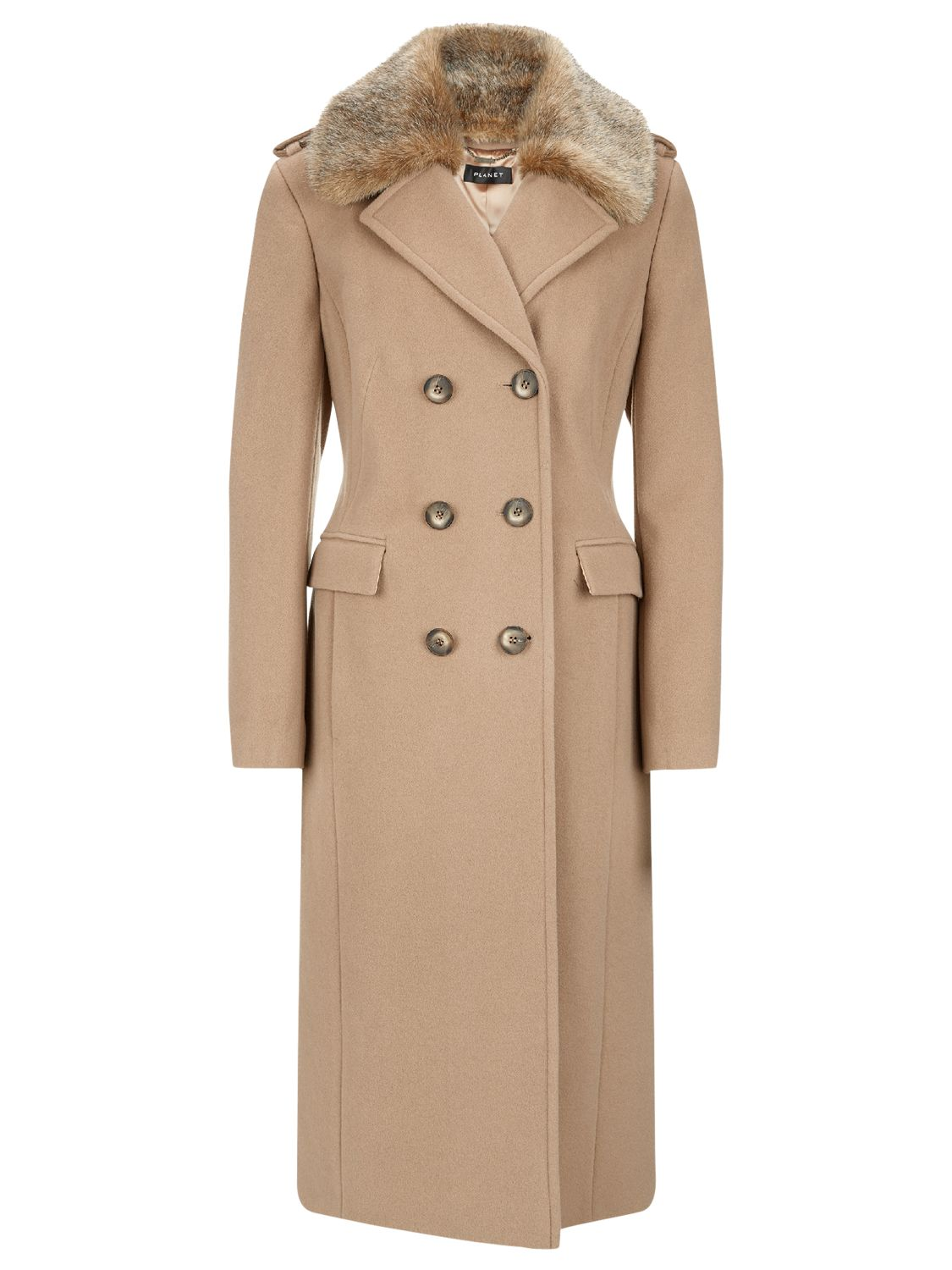 be3c9f7dc Planet Faux Fur Collar Coat at John Lewis & Partners