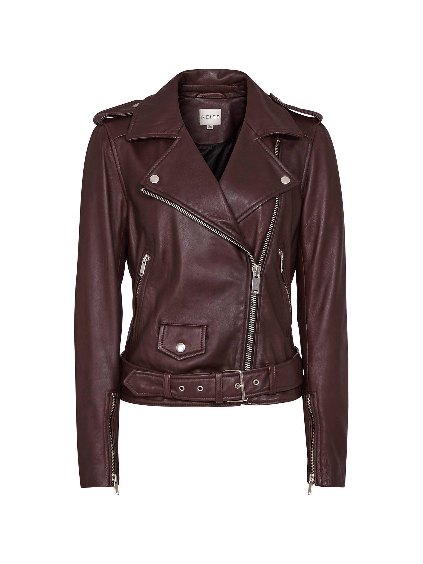 Reiss Belt Detail Leather Biker Jacket Ox Blood 6 Online At Johnlewis