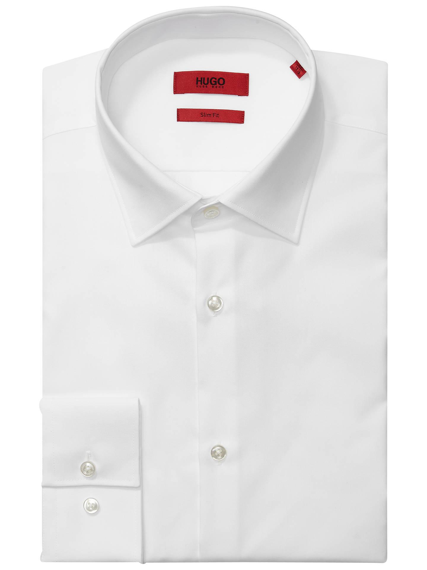 7fd824364 Buy HUGO by Hugo Boss Jenno Plain Cotton Slim Fit Shirt, White, 15 Online  ...