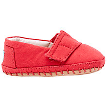 Buy TOMS Children's Canvas Crib Alpargata Shoes, Red Online at johnlewis.com