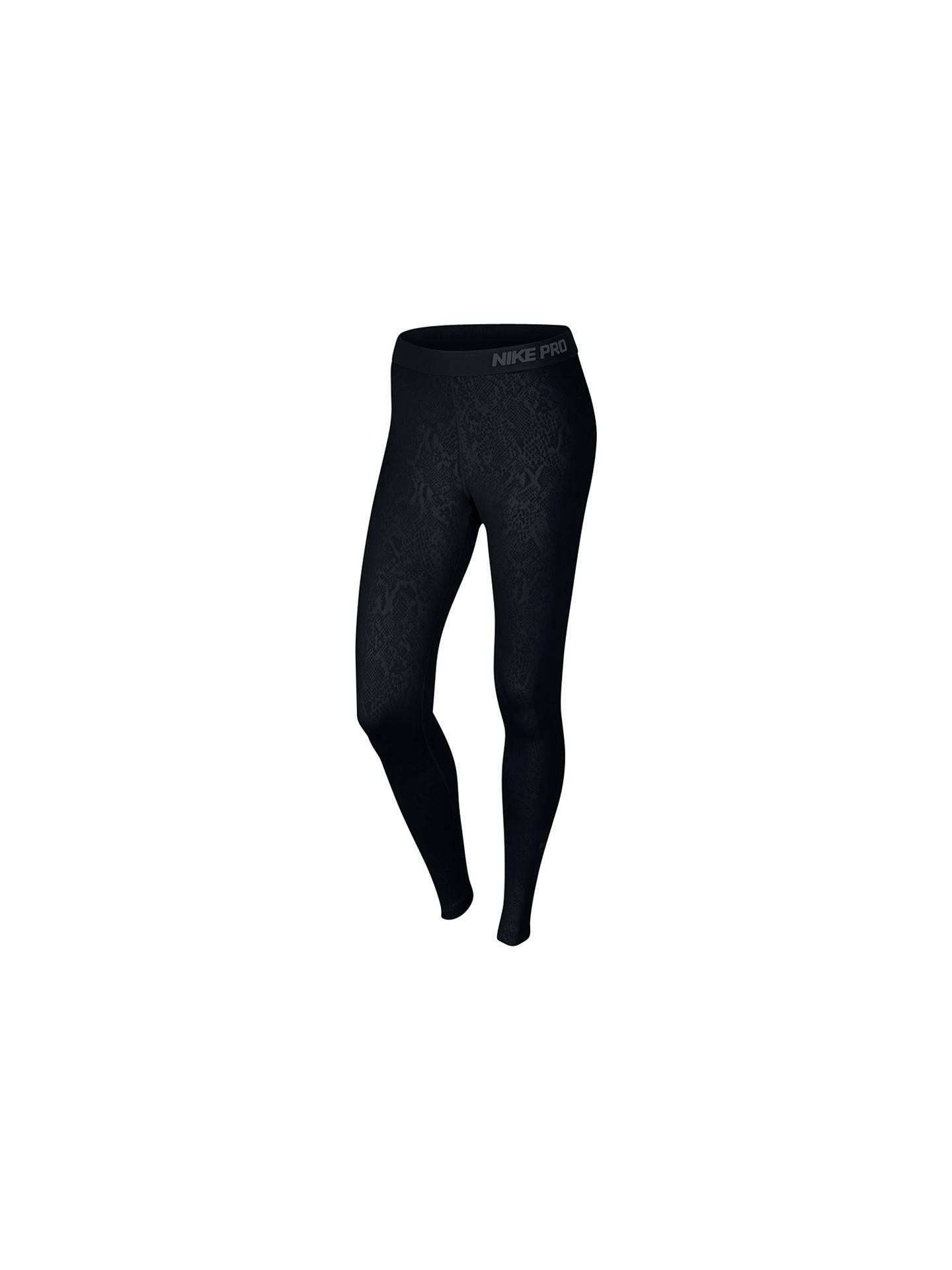 d8d12376683d02 Buy Nike Pro Warm Embossed Vixen Running Tights, Black, XS Online at  johnlewis.