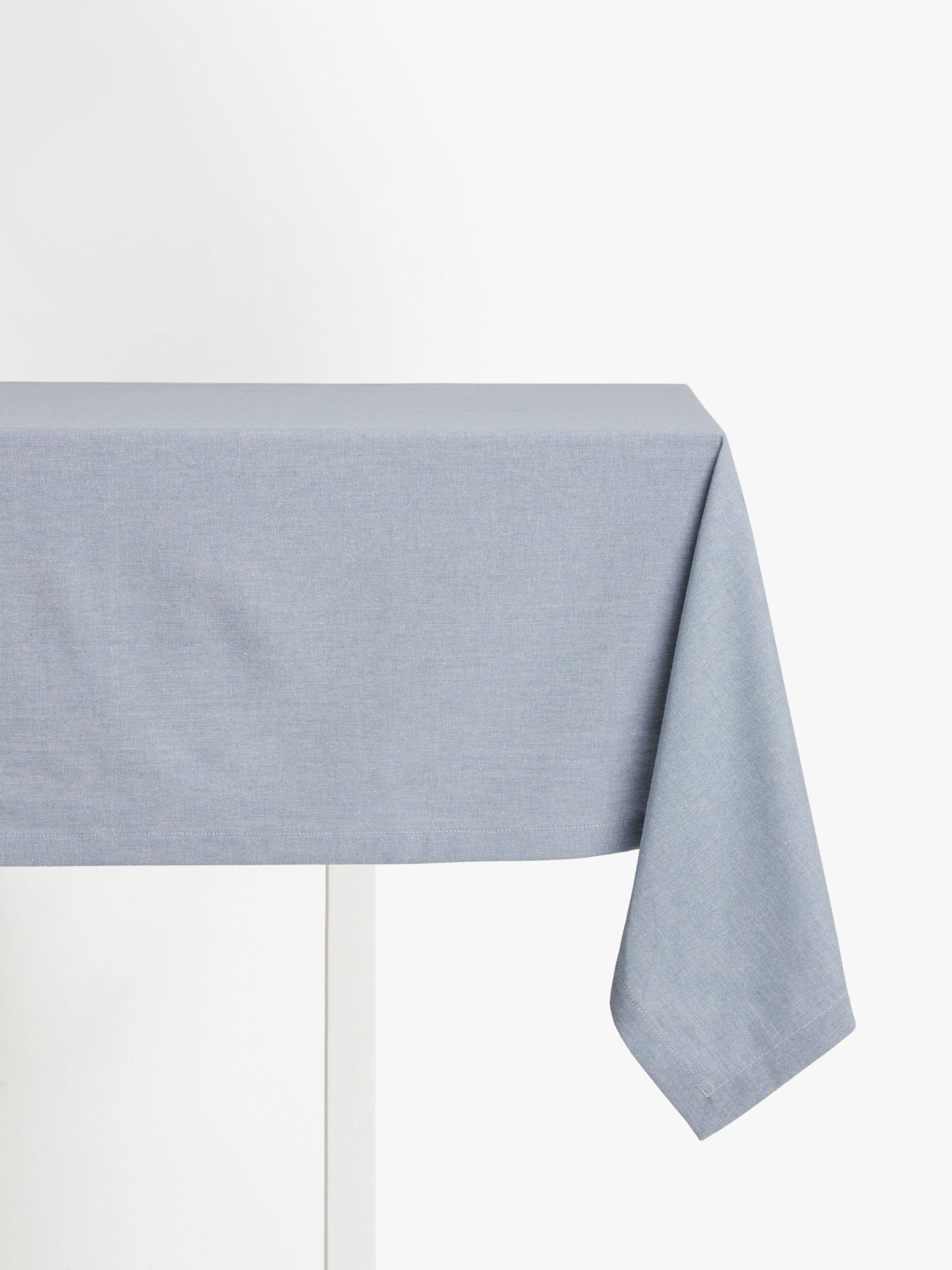 John Lewis & Partners Chambray Weave Cotton Tablecloth, Powder Blue