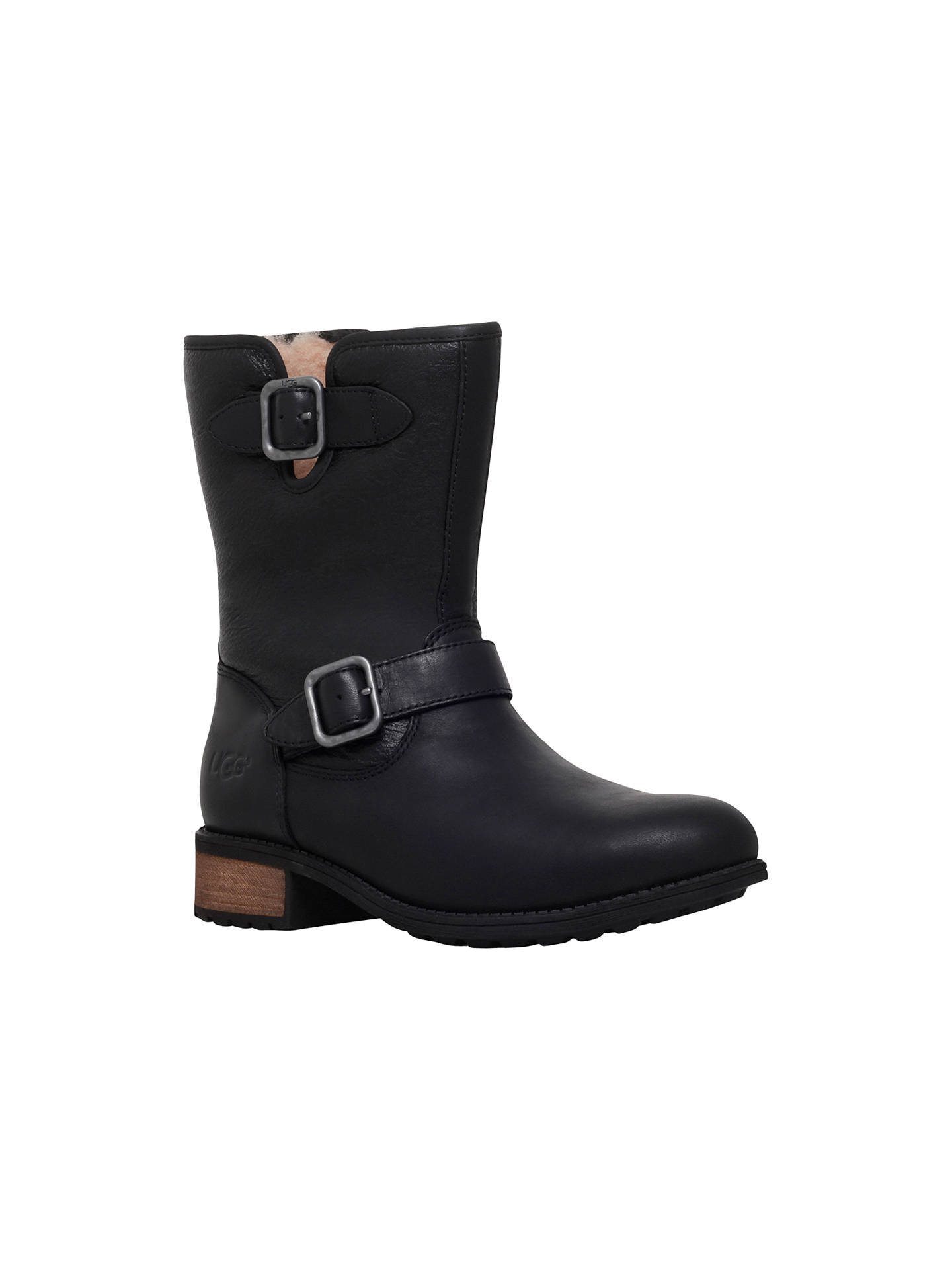 55ba8f08158 UGG Chaney Buckle Detail Ankle Boots, Black Leather at John Lewis ...