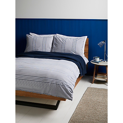 John Lewis Variegated Stripe Duvet Cover and Pillowcase Set, Dark Nordic Blue