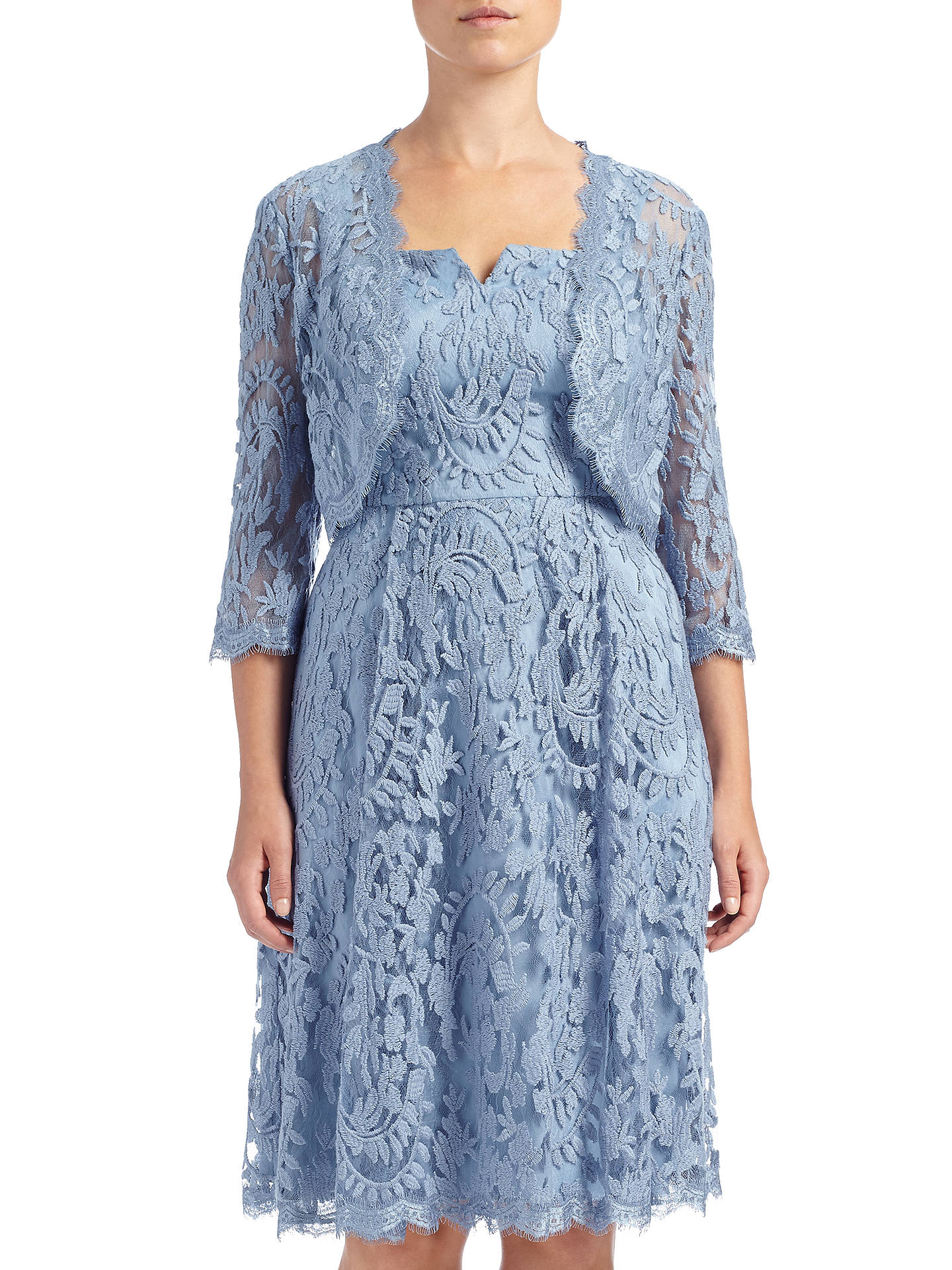 Adrianna Papell Fit And Flare Dress With Lace Bolero