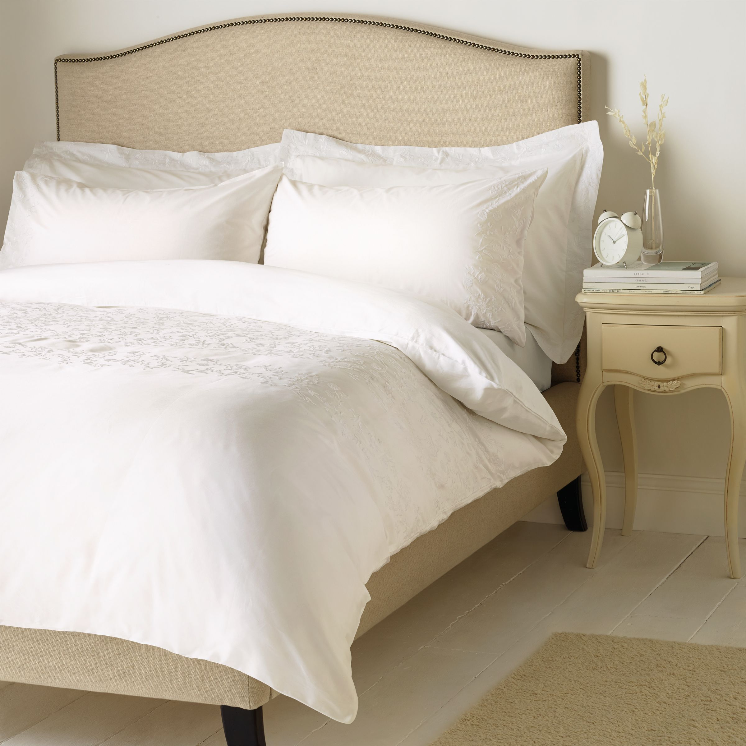 John Lewis Partners Soft And Silky Danielle Embroidered Cotton Bedding White At John Lewis Partners