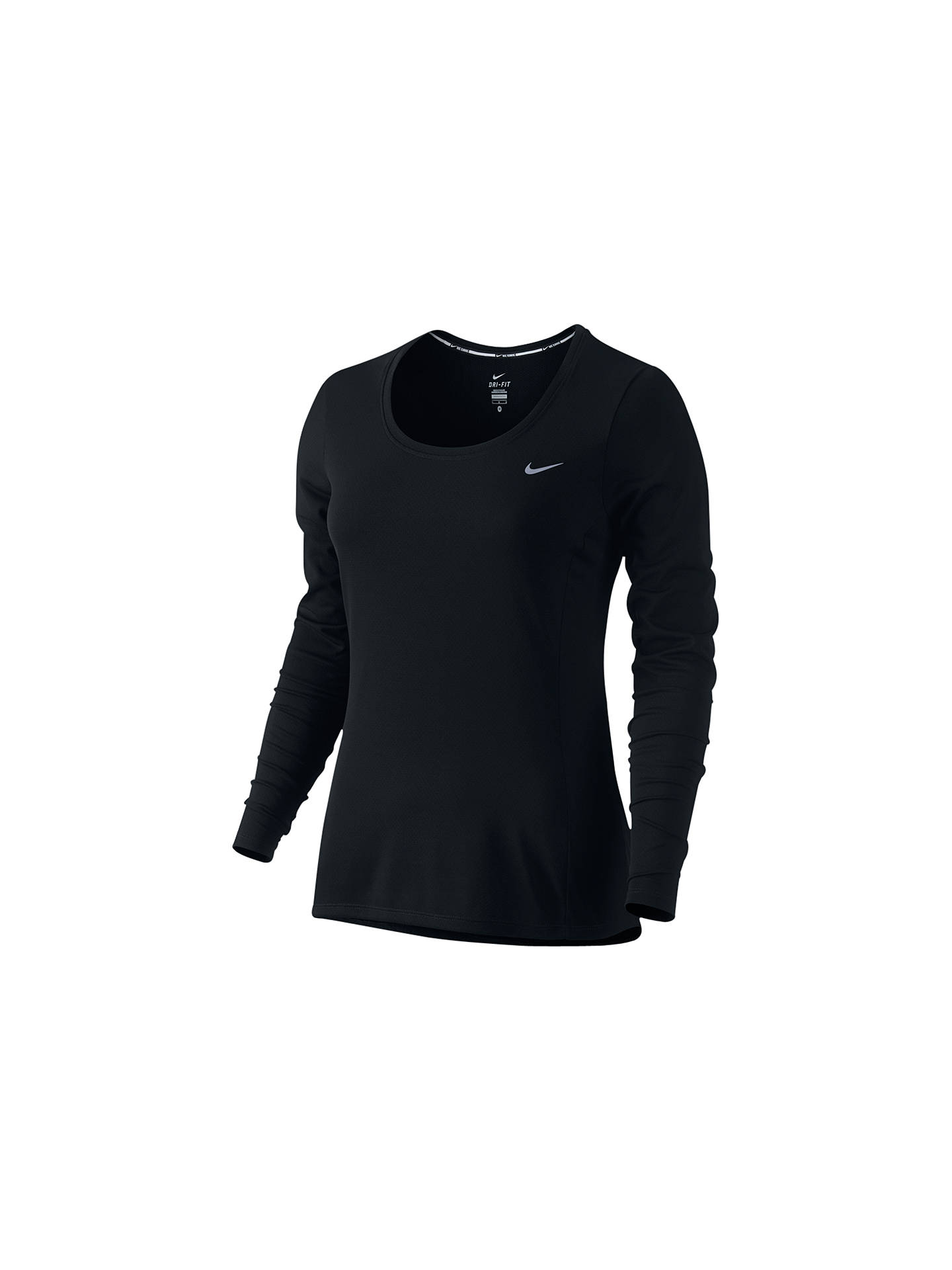 64b9d2b7b Buy Nike Dri-FIT Contour Long Sleeve Running Top, Black, XS Online at ...
