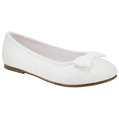 John Lewis Children's Embroidered Bow Ballet Shoes, White