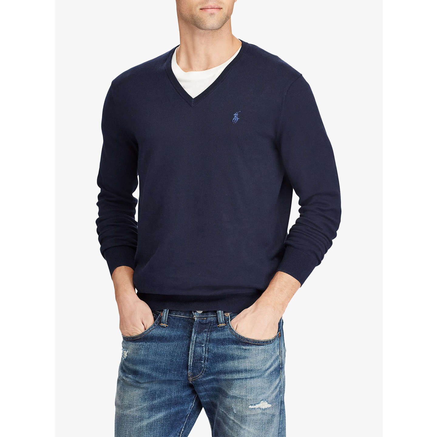 BuyPolo Ralph Lauren Pima Cotton V Neck Jumper, Hunter Navy, S Online at  johnlewis ...