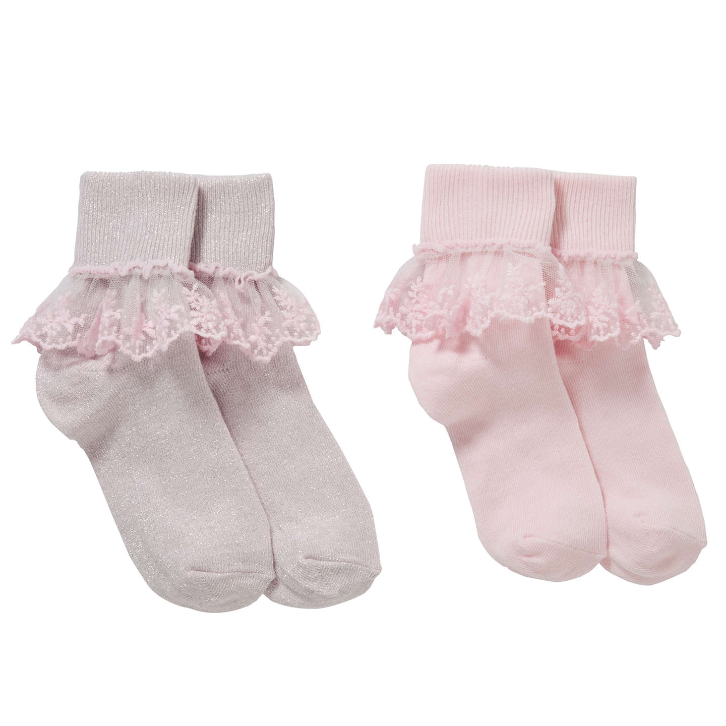 John Lewis Girls Bridal Floral Lace Socks Pack of 2 Pink at John