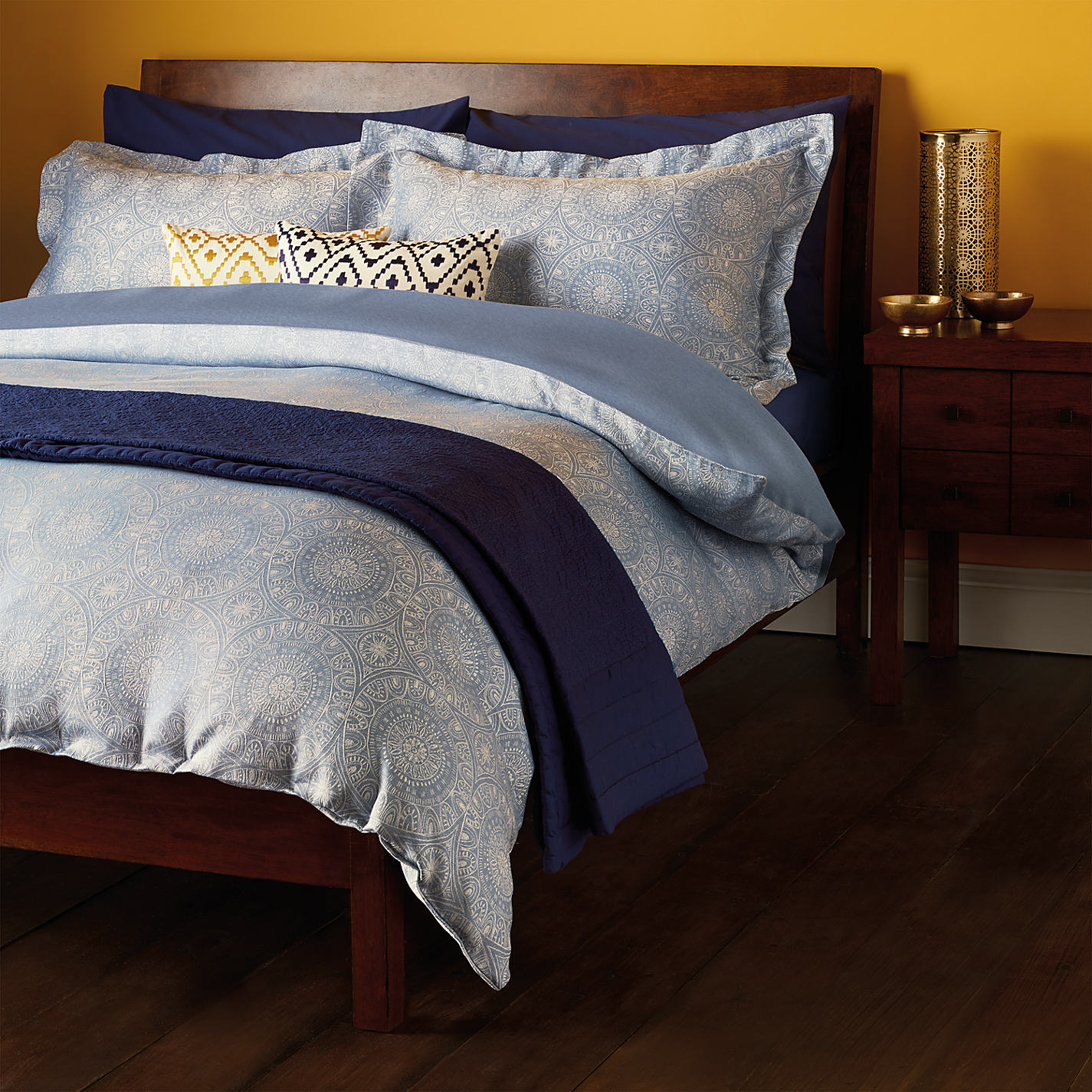 John Lewis Persia Cotton Duvet Cover And Pillowcase Set Blue Online At Johnlewis