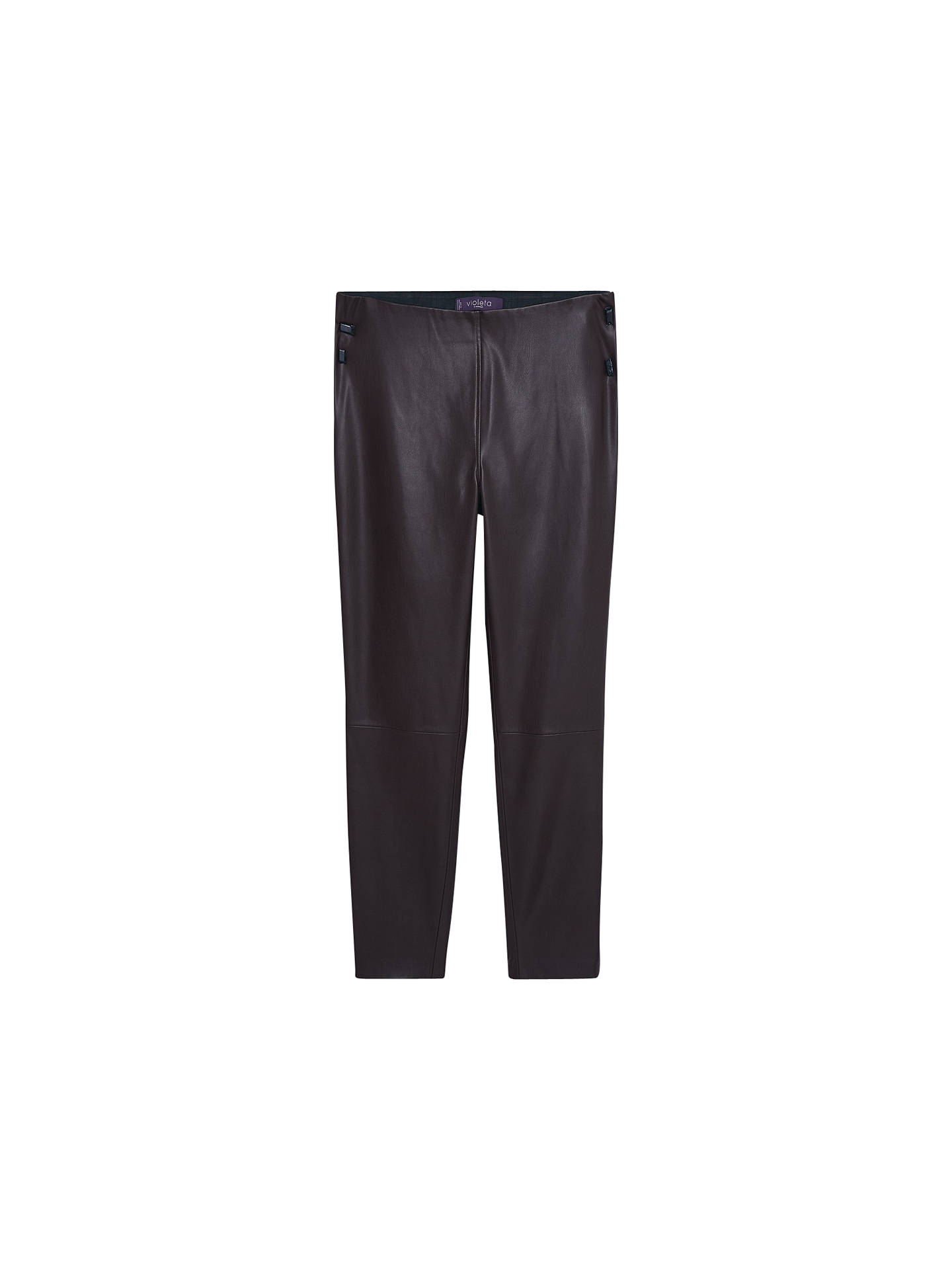 b5a5da9f32e5a8 Buy Violeta by Mango Faux Leather Leggings, Dark Brown, S Online at  johnlewis.