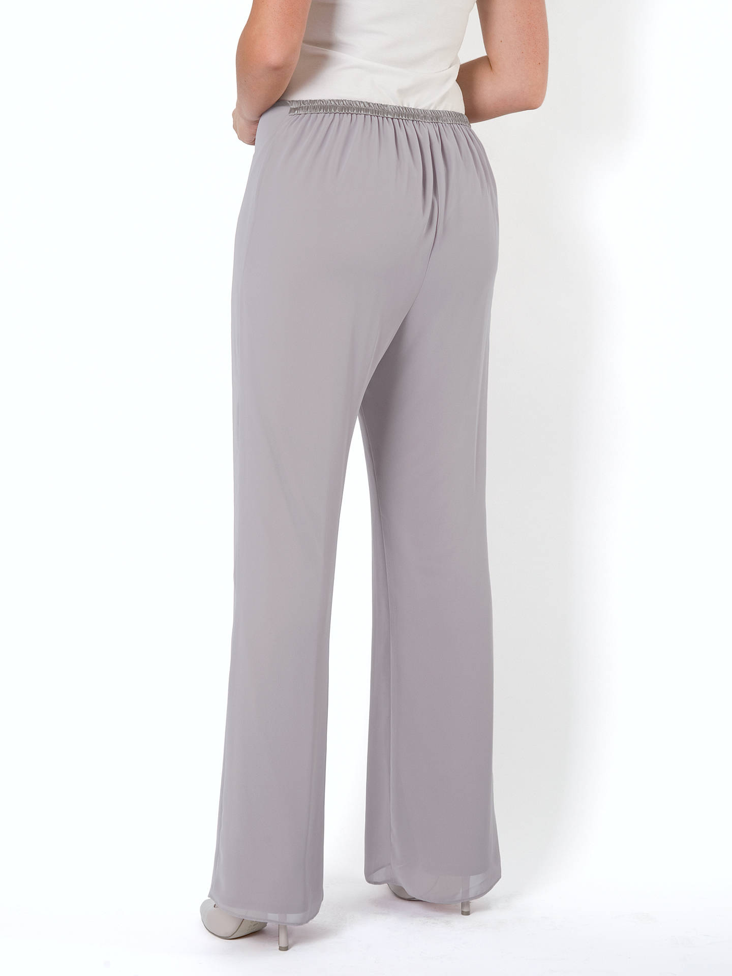 Buy Chesca Jersey Lined Chiffon Trousers, Pale Grey, 12 Online at johnlewis.com