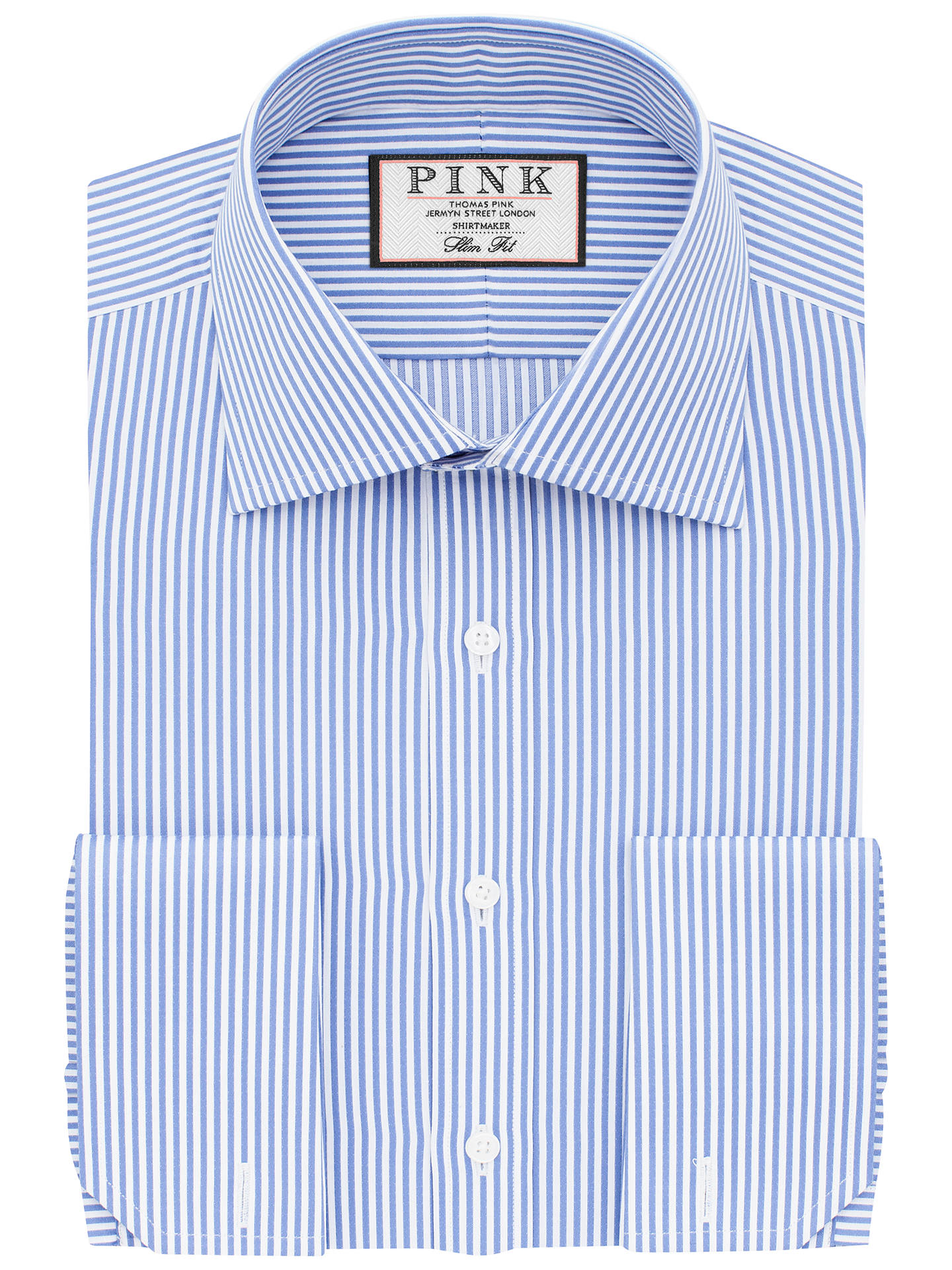 61233362ee8040 Buy Thomas Pink Grant Slim Fit Double Cuff Stripe Shirt, Blue/White, 17 ...