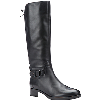 Geox Felicity A Block Heeled Knee High Boots, Black Leather