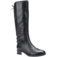 Buy Geox Felicity A Block Heeled Knee High Boots, Black Leather Online at johnlewis.com