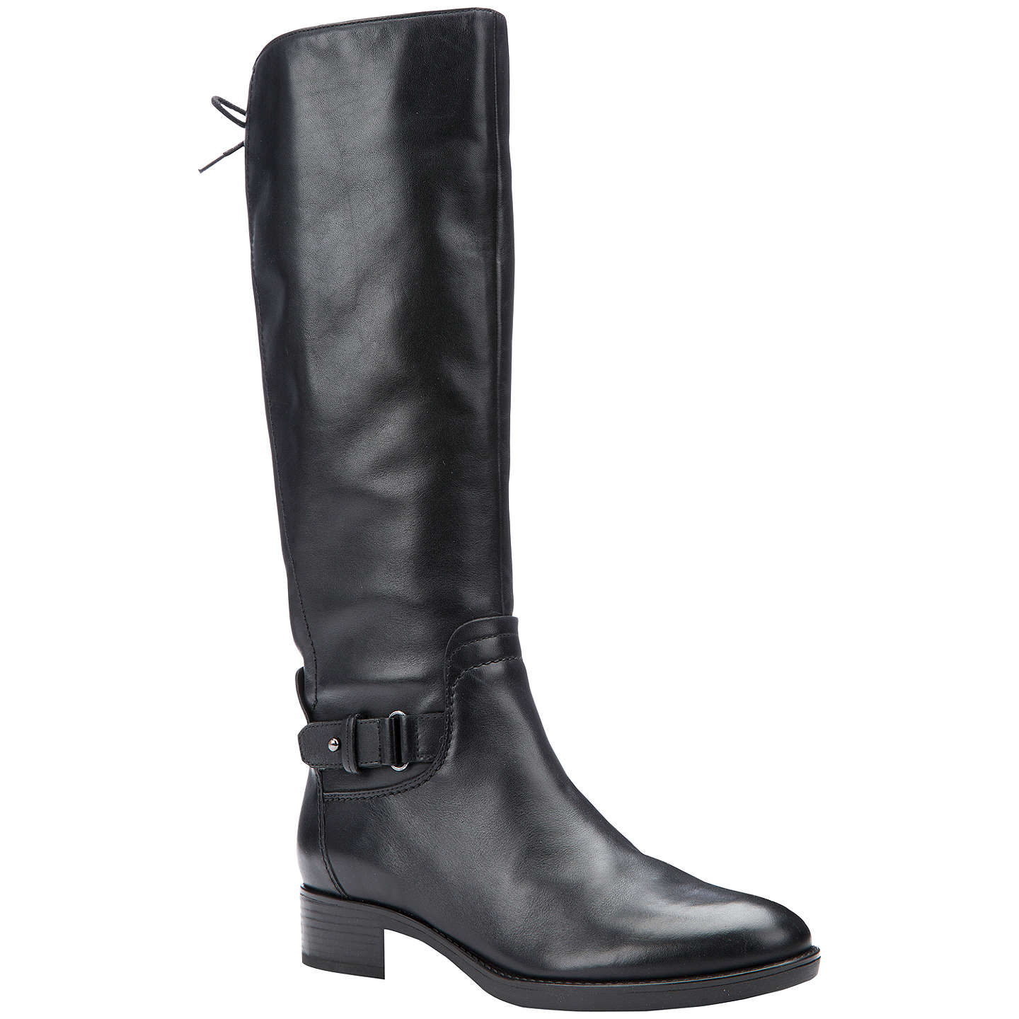 BuyGeox Felicity A Block Heeled Knee High Boots, Black Leather, 3 Online at johnlewis.com