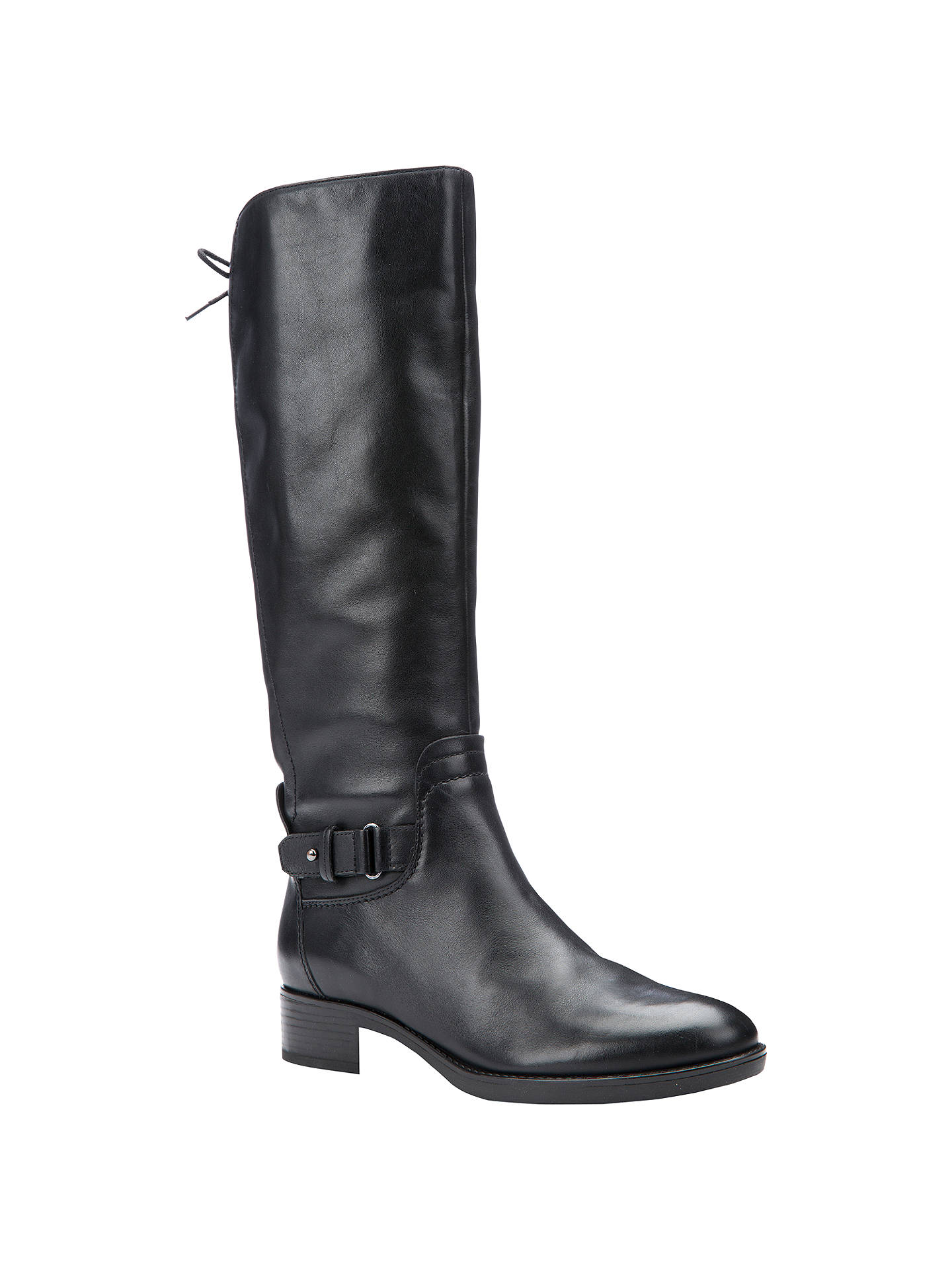 Geox Respira black leather knee high riding boots side zip