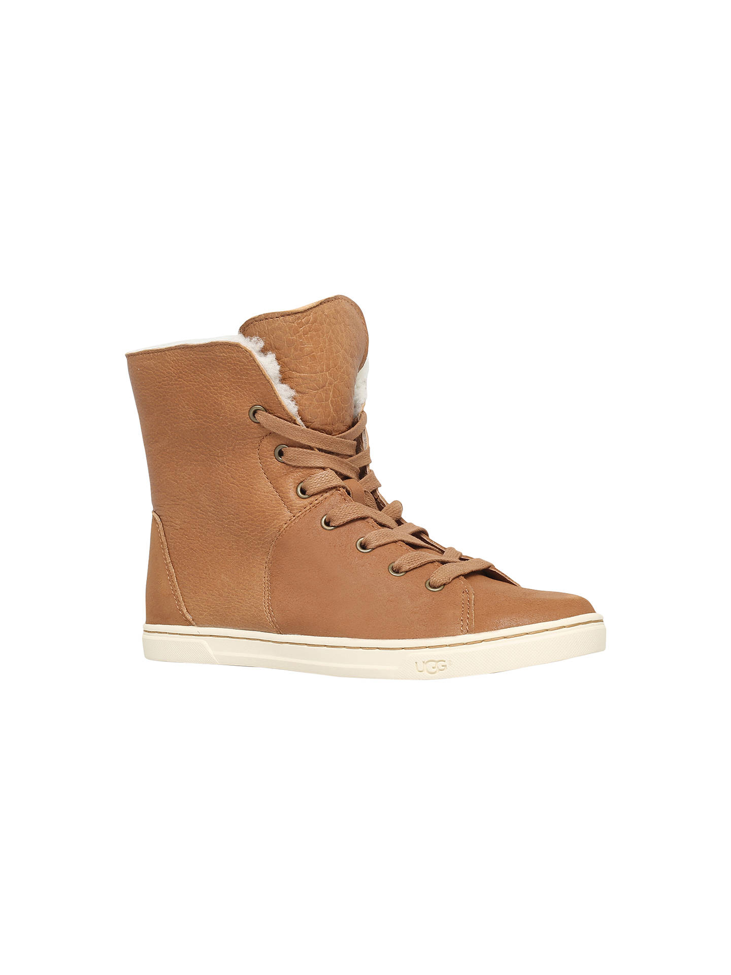 6c3c7f27bf5 UGG Croft Flat Lace Up Ankle Boots, Brown Suede at John Lewis & Partners