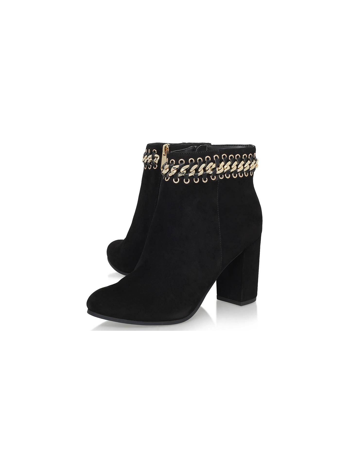 6fb2a43cb19 KG by Kurt Geiger Sphynx Chain Detail Ankle Boots, Black Suede at ...