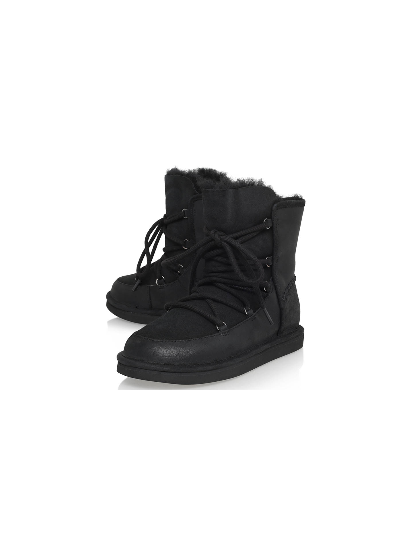 1771795b7d7 UGG Lodge Lace Up Ankle Boot, Black Leather at John Lewis & Partners