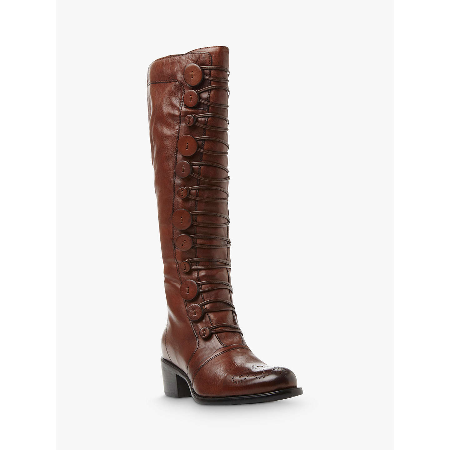 ... BuyDune Pixie D Button Detail Knee High Boots, Brown Leather, 3 Online  at johnlewis ...