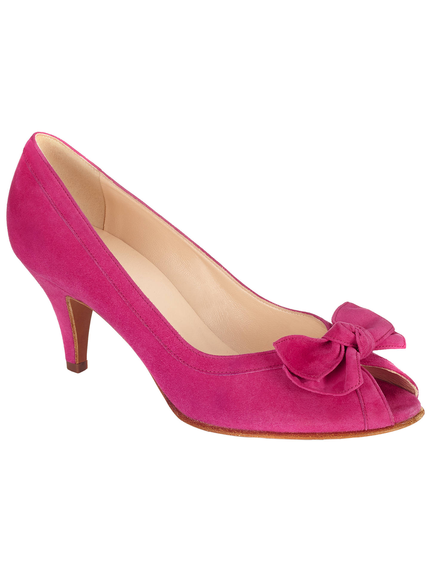 41df31c3ad492 Buy Peter Kaiser Satyr 2 Bow Detail Stiletto Court Shoes, Berry Suede, 4  Online ...
