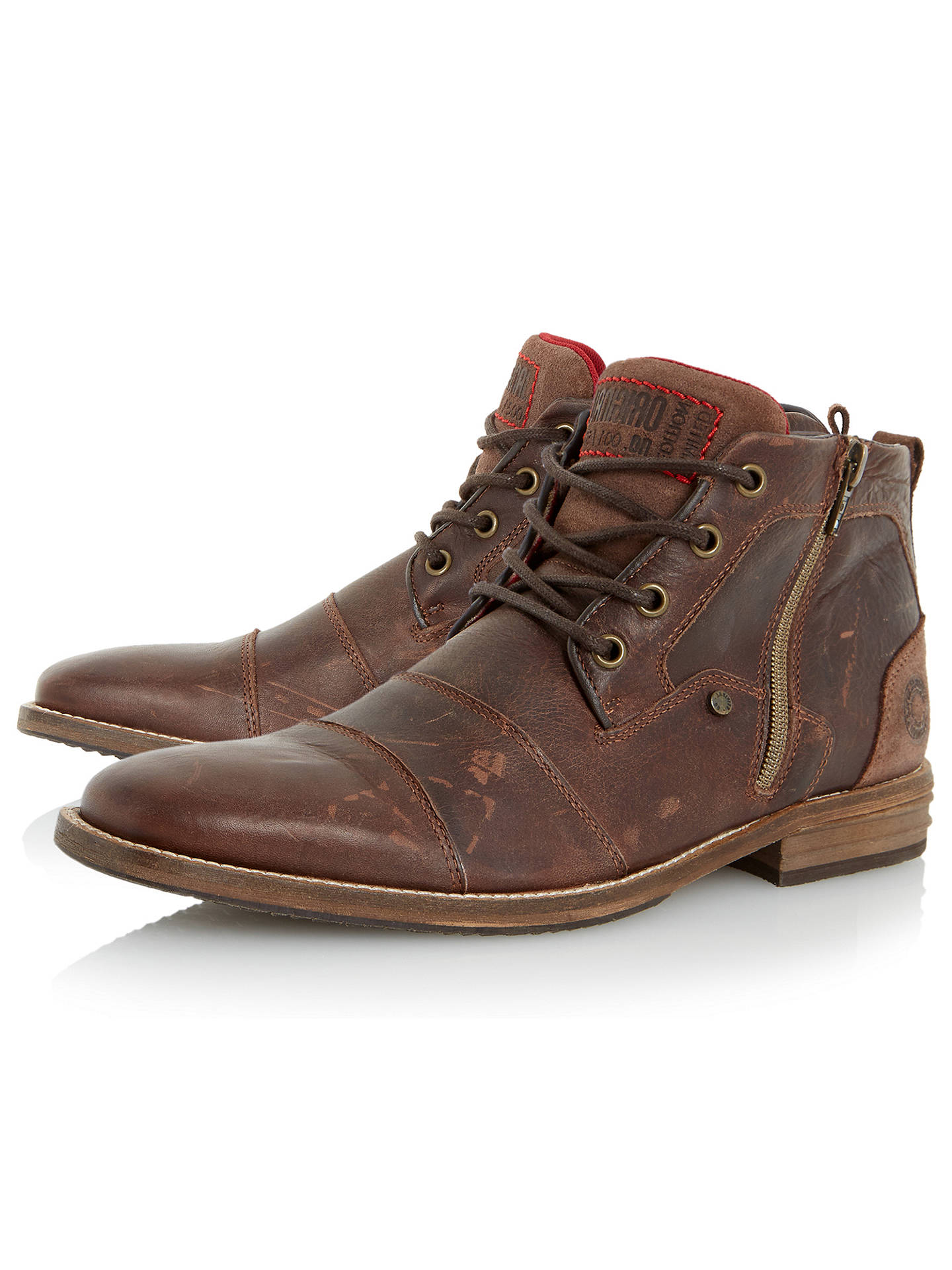5fe5e67f500 ... Buy Dune Captain Double Toe Cap Detail Leather Boots, Dark Brown, 7  Online at ...