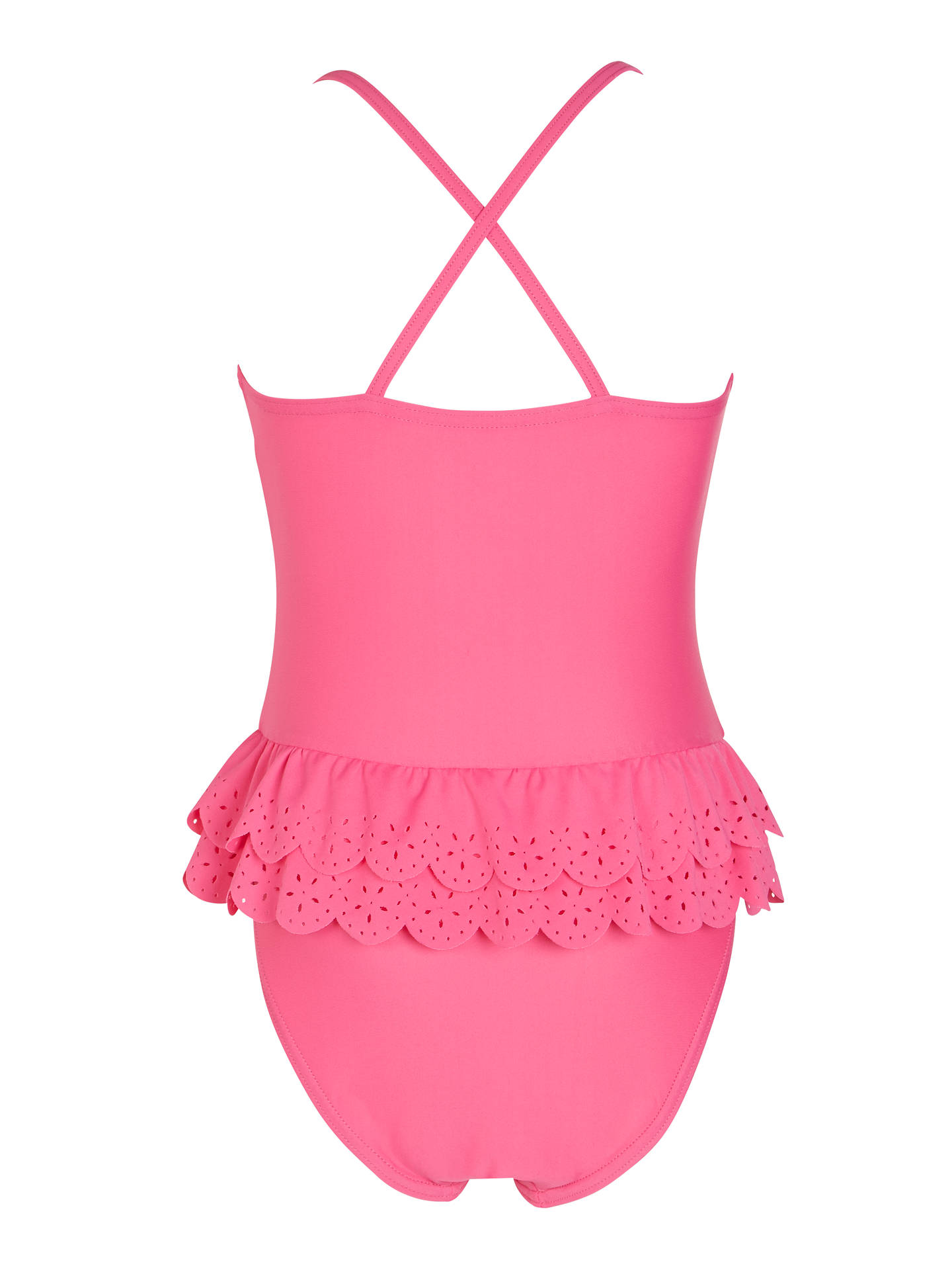John Lewis Girls' Laser Cut Swimsuit, Pink at John Lewis