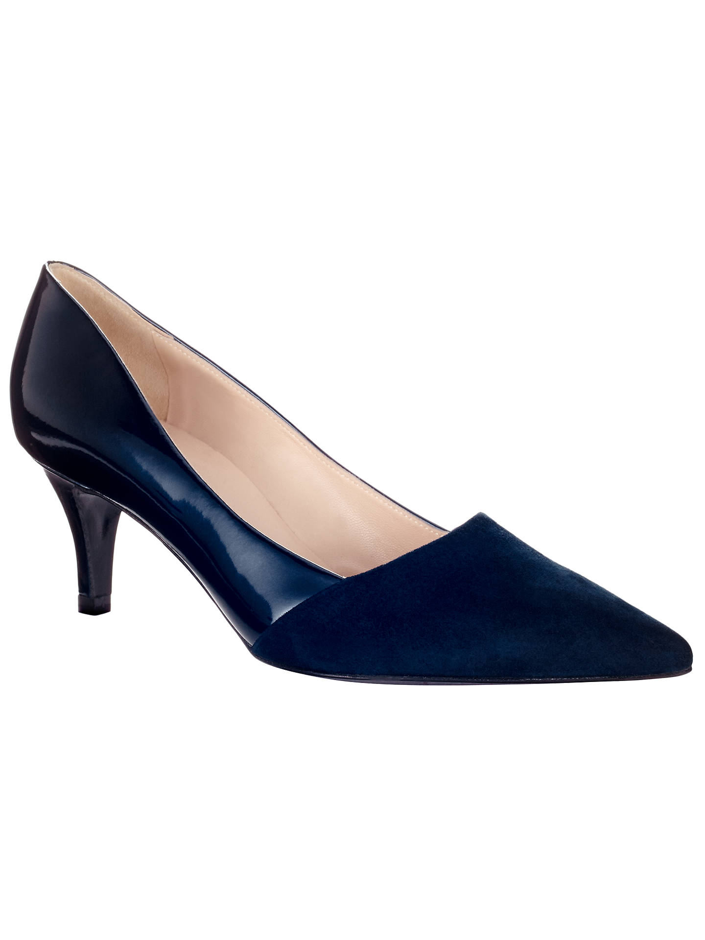 ec6bd7e8372ca Buy Peter Kaiser Semitara Mid Heeled Stiletto Court Shoes, Navy Suede, 4  Online at ...