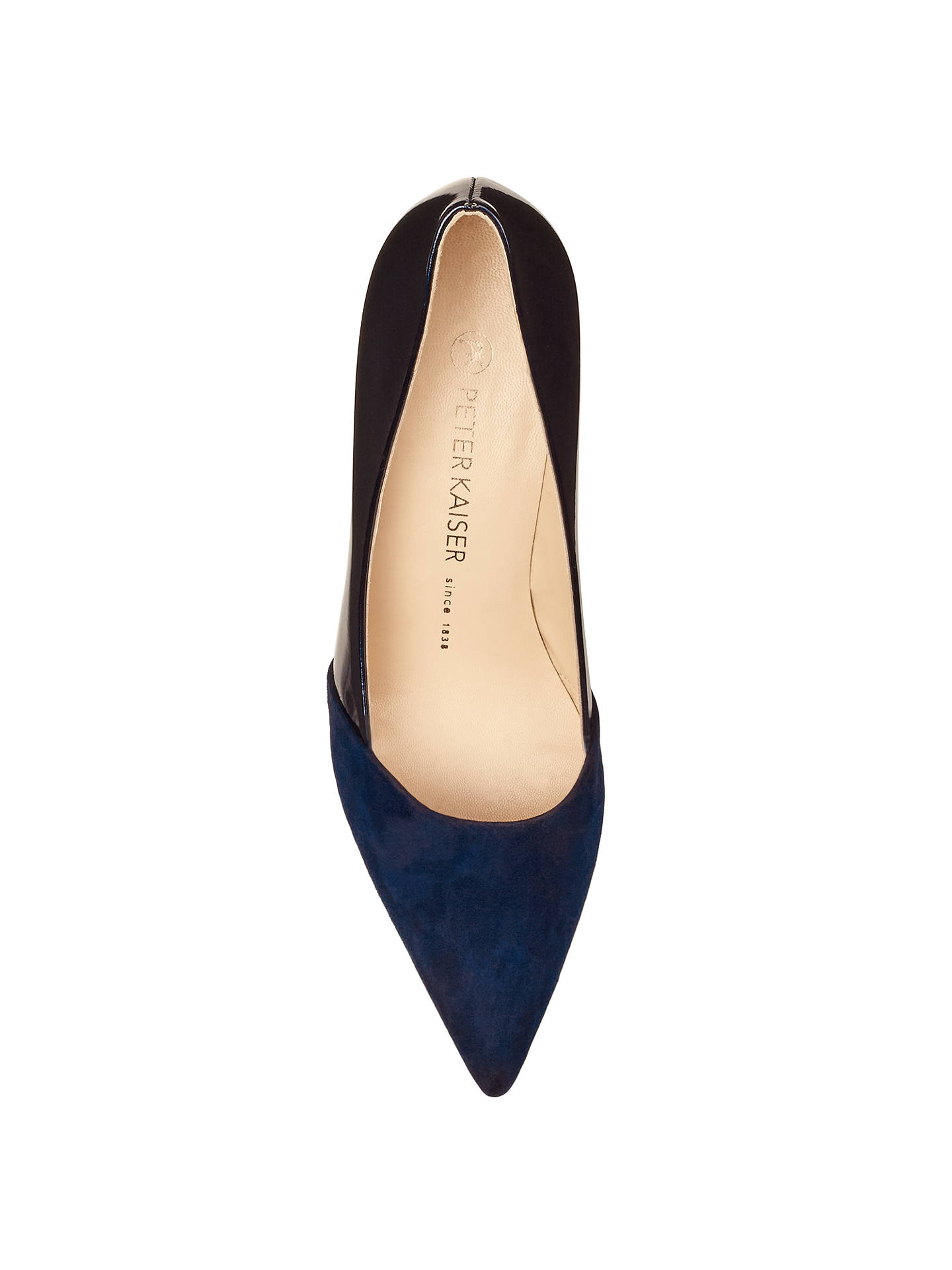 16027bc55aeba ... Buy Peter Kaiser Semitara Mid Heeled Stiletto Court Shoes, Navy Suede,  4 Online at ...