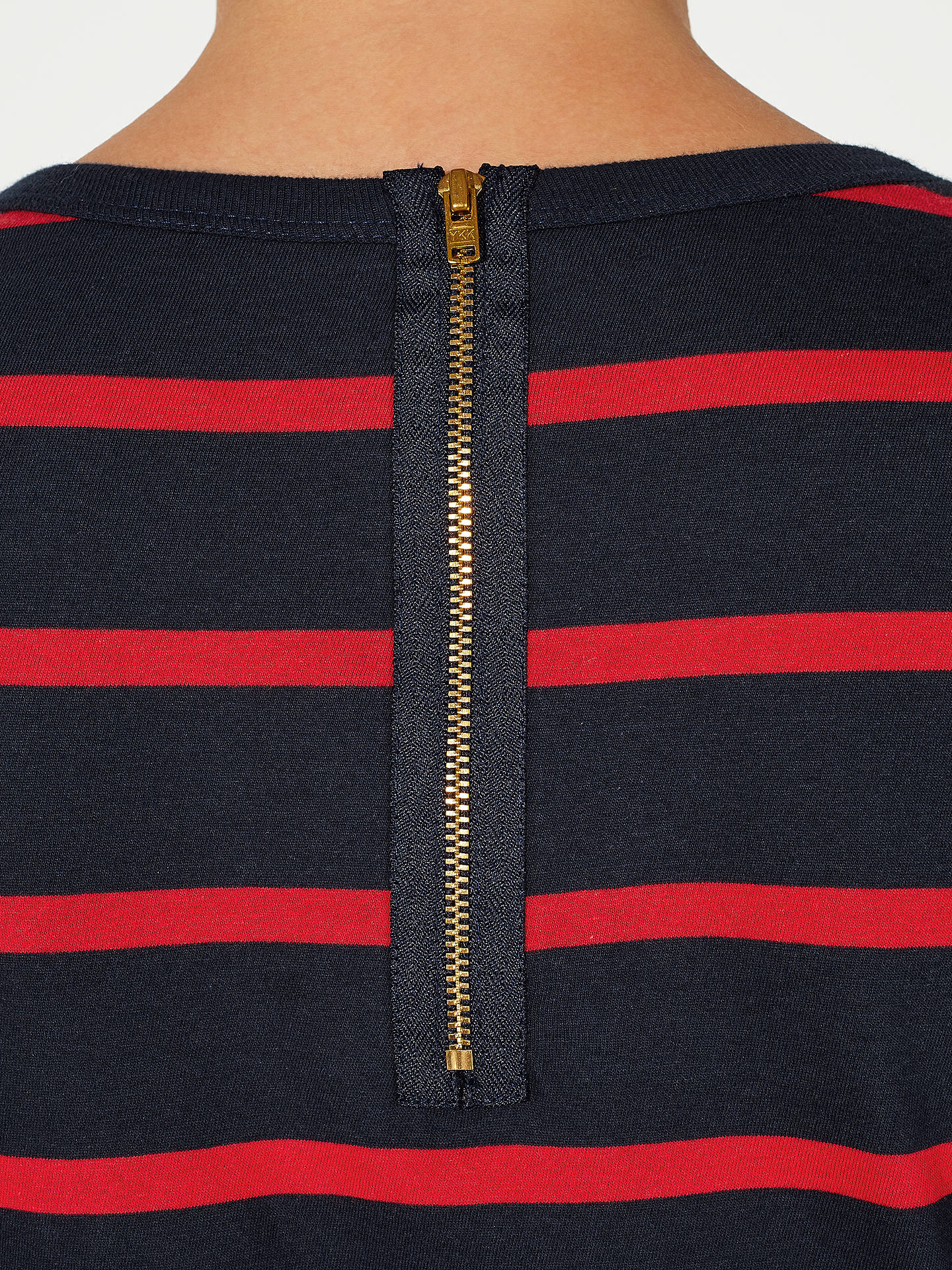 Buy John Lewis Zip Back Breton Stripe Top, Navy/Red, 8 Online at johnlewis.com