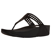 Buy FitFlop Carmel Toe Post Sandals, Black Suede Online at johnlewis.com