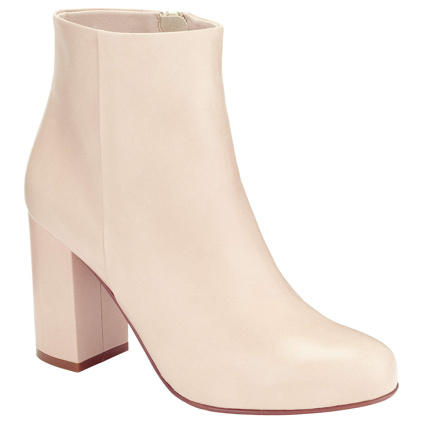 BuyKin by John Lewis Olle Block Heeled Ankle Boots, Blush Leather, 4 Online at johnlewis.com