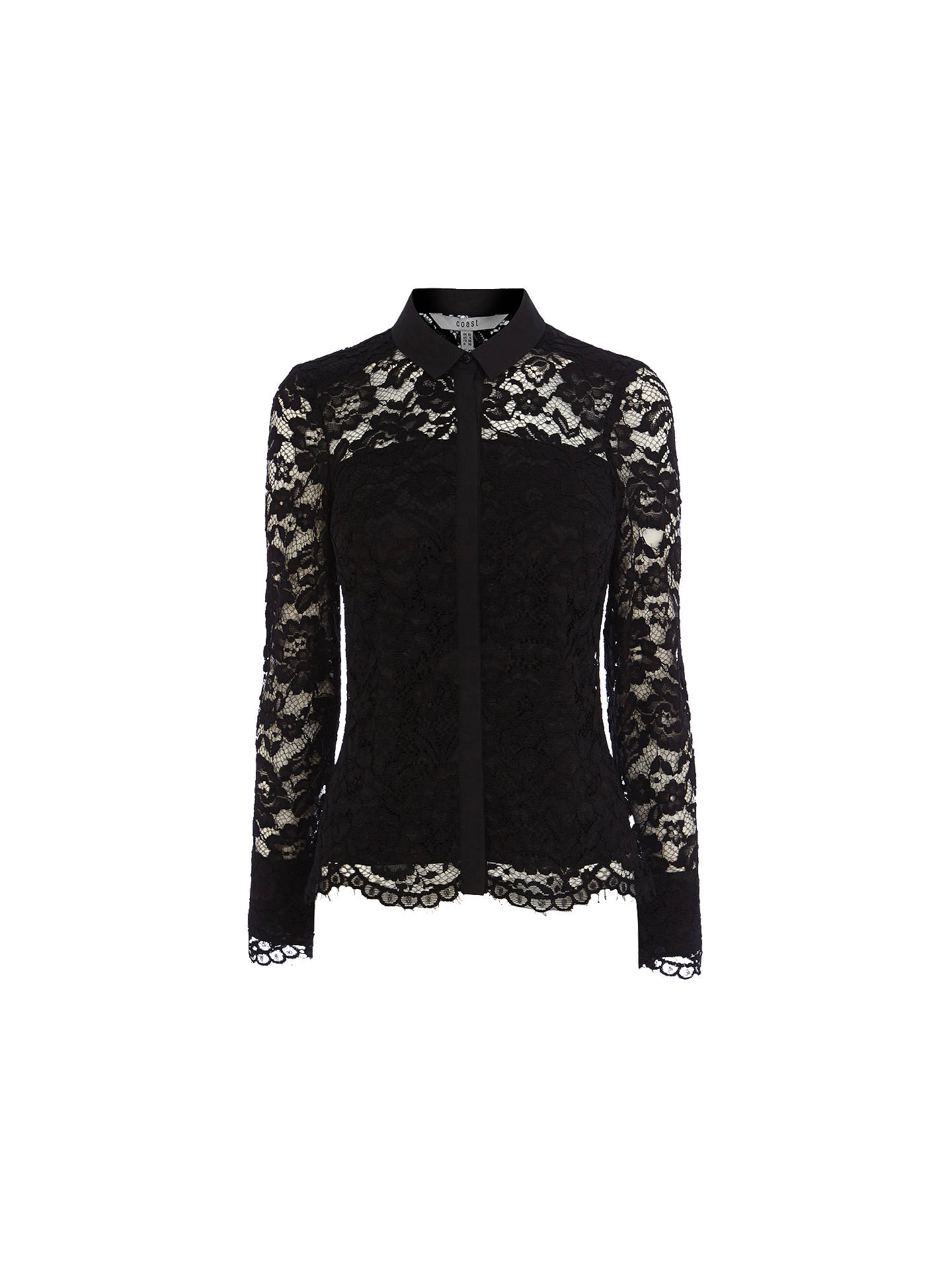 Buy Coast Adelia Lace Blouse, Black, 6 Online at johnlewis.com