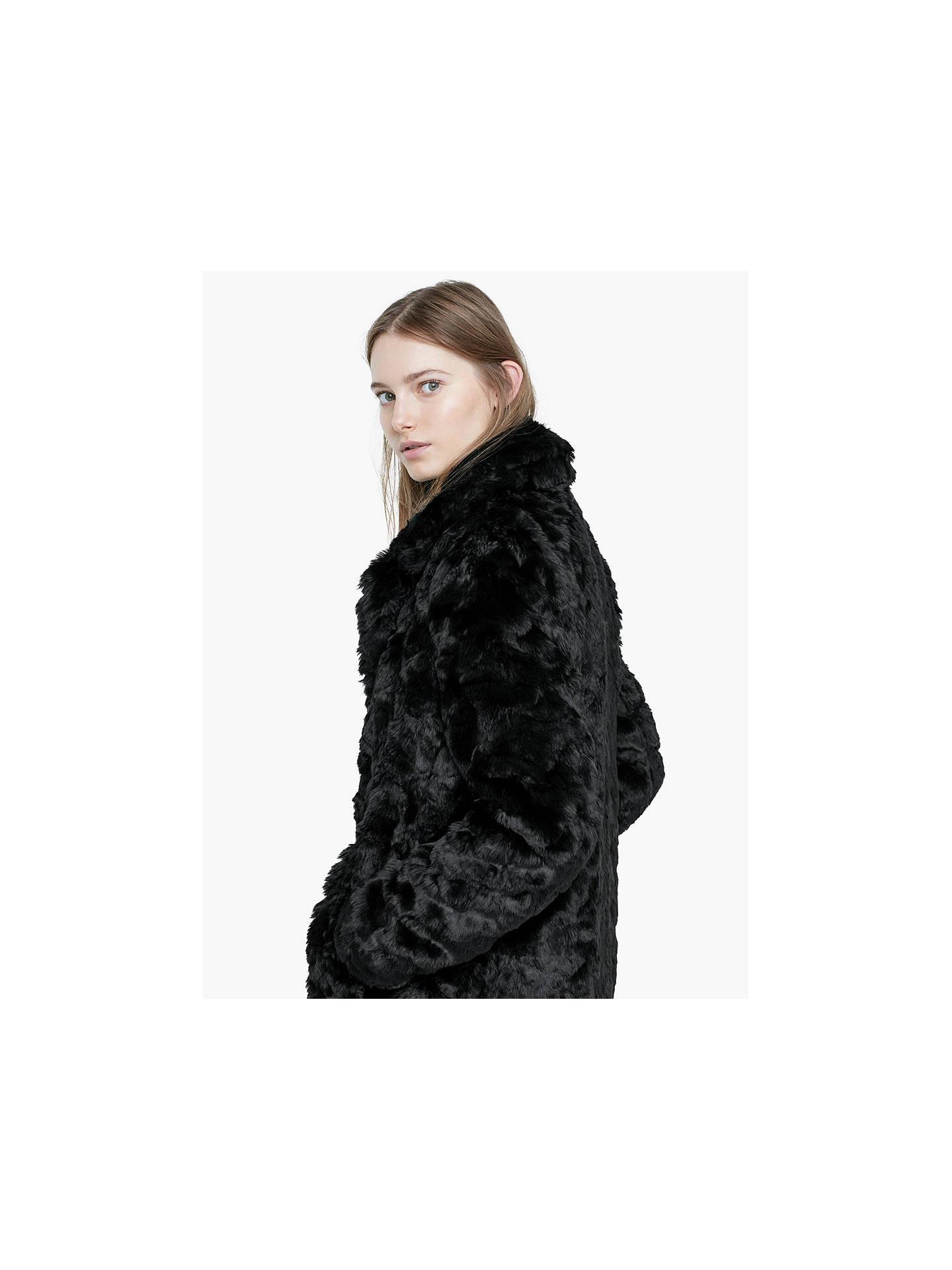 df27625bf Mango Black Faux Fur Coat